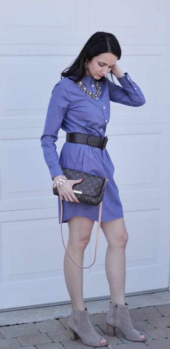 Louis Vuitton Clutch, Booties, Belt, Blue Dress
