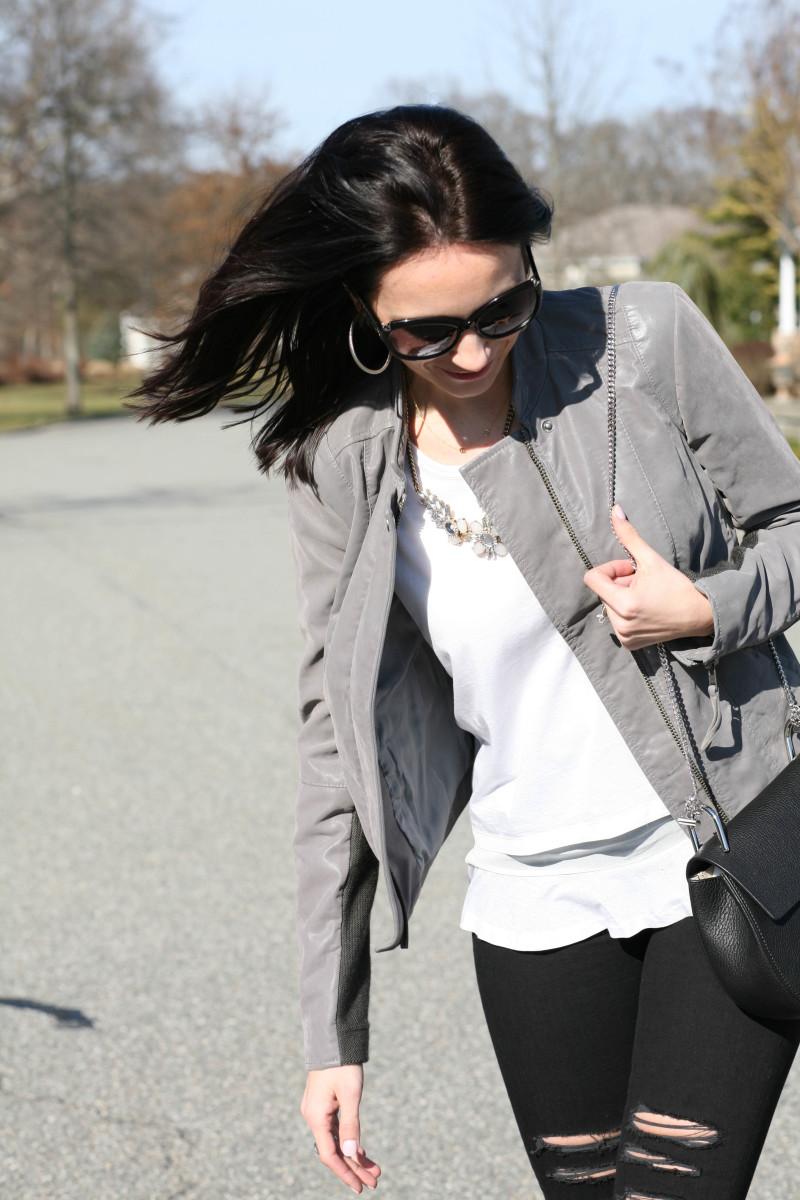 spring fashion, necklace, grey suede jacket