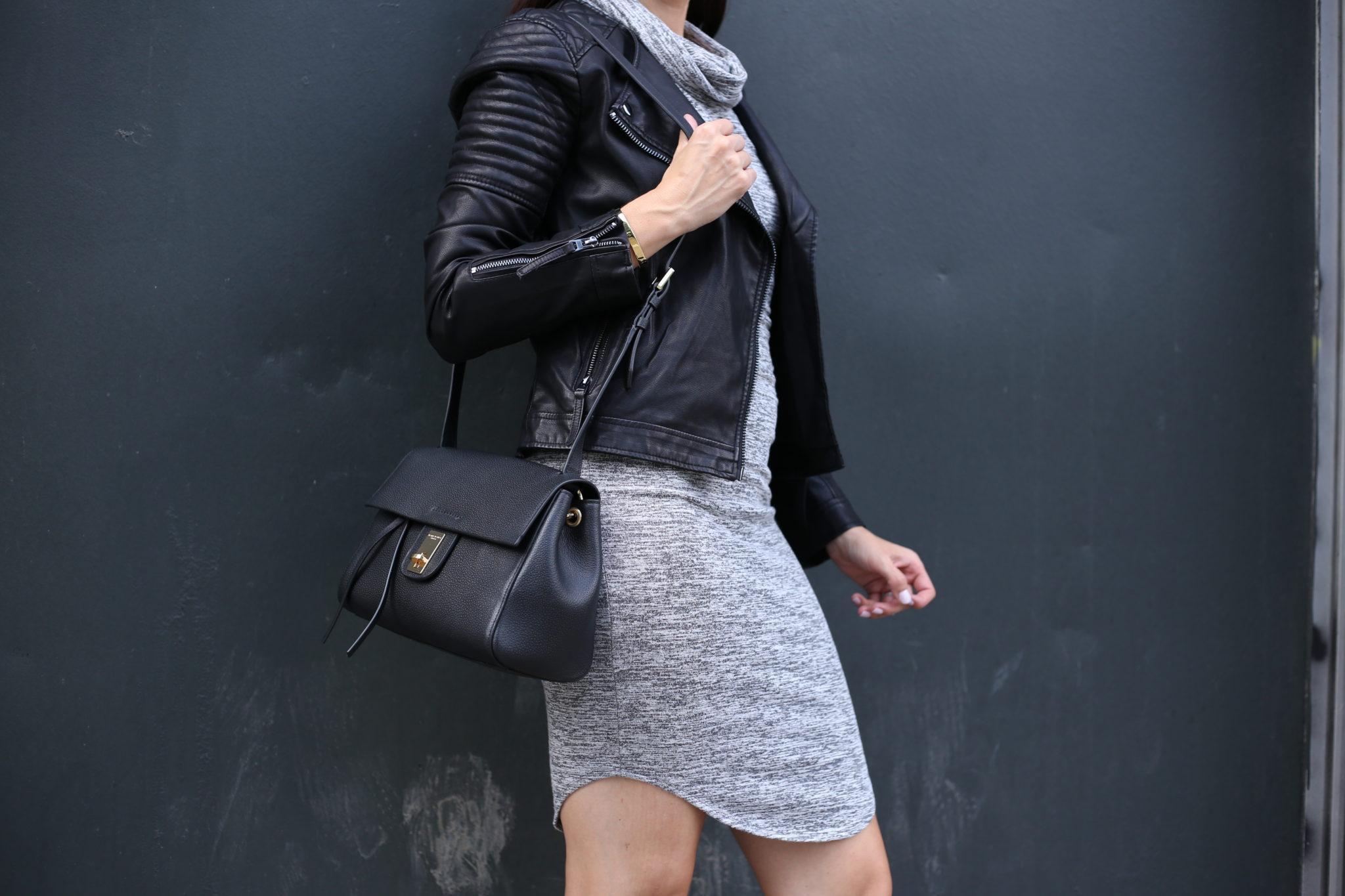 Cowl Neck Dress & Leather Moto – Favorite Fall Fashion
