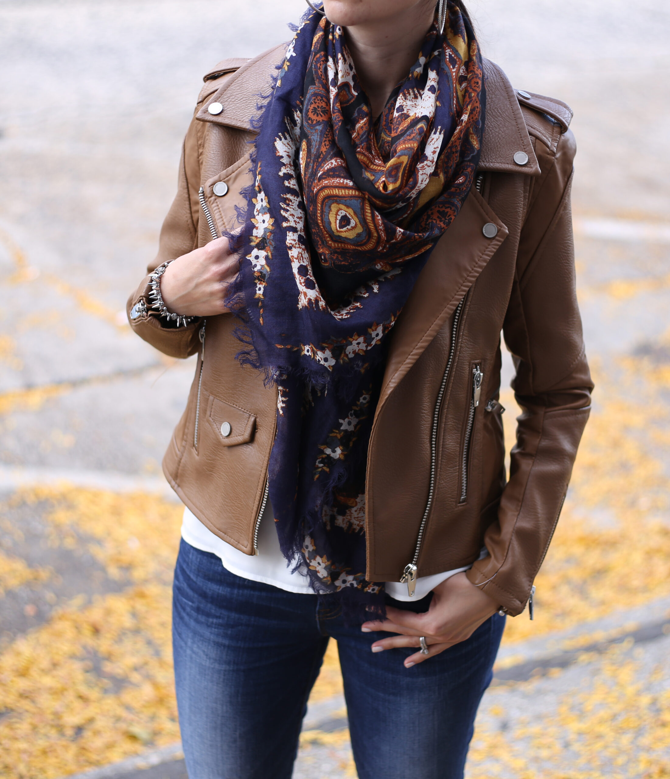 Faux Leather Moto and Paisley Print Scarf