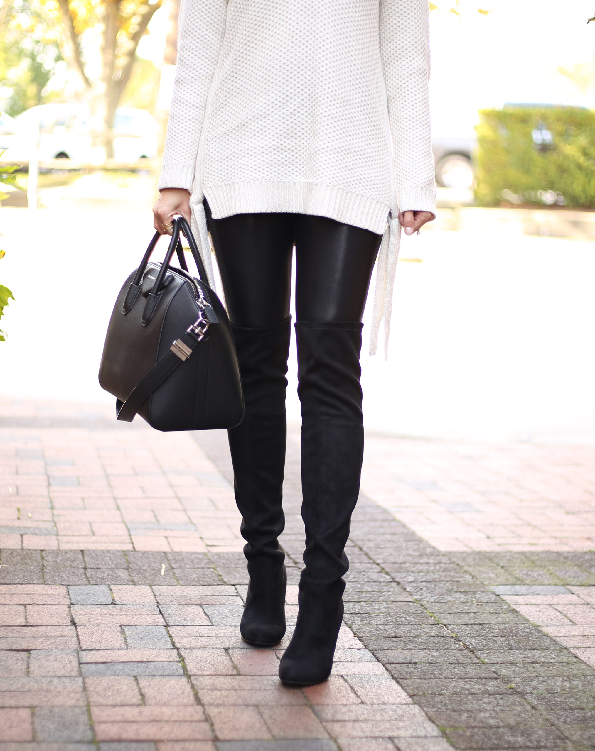 Over The Knee Boots and Faux Leather Leggins