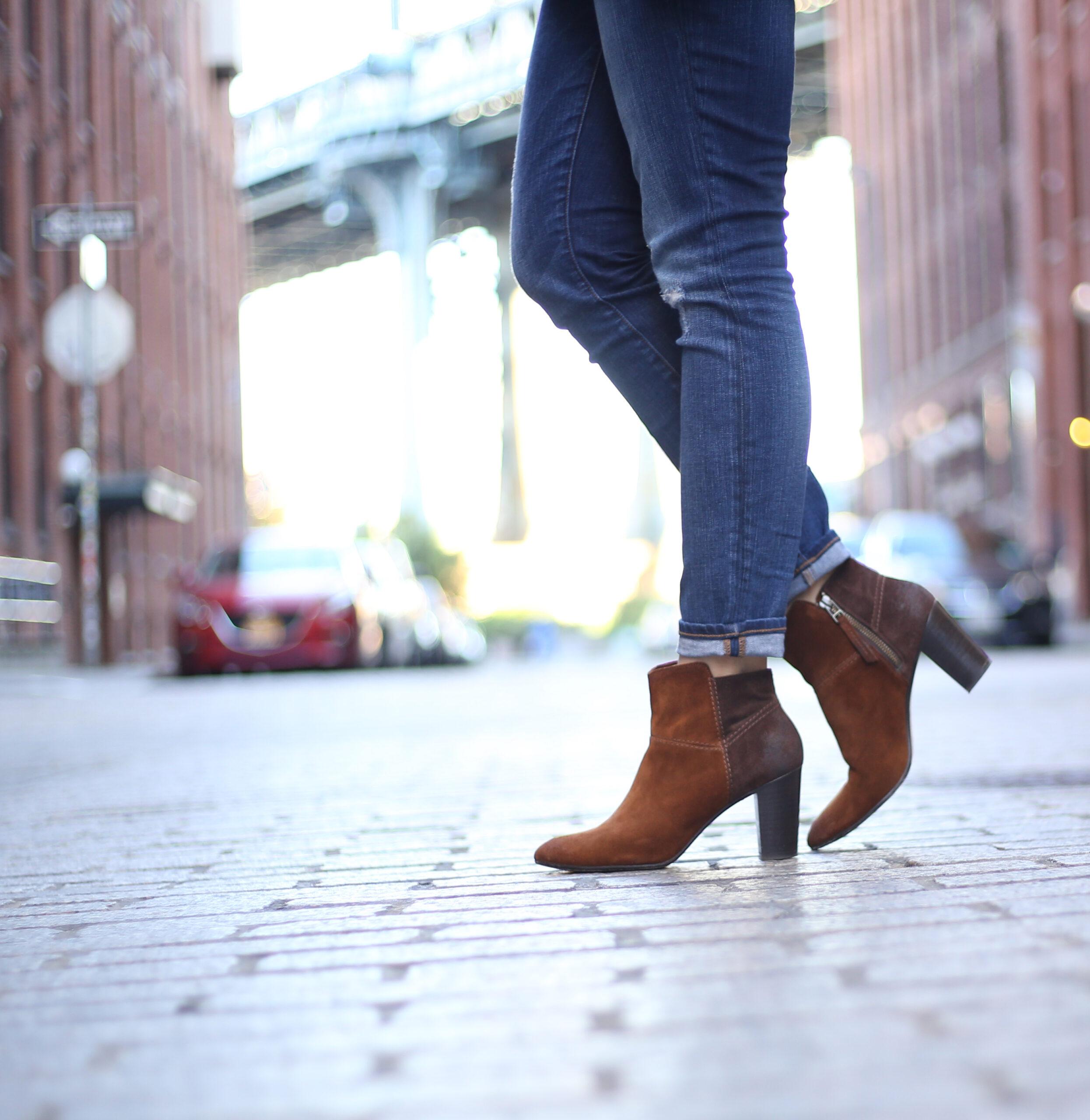 brown suede block heel booties