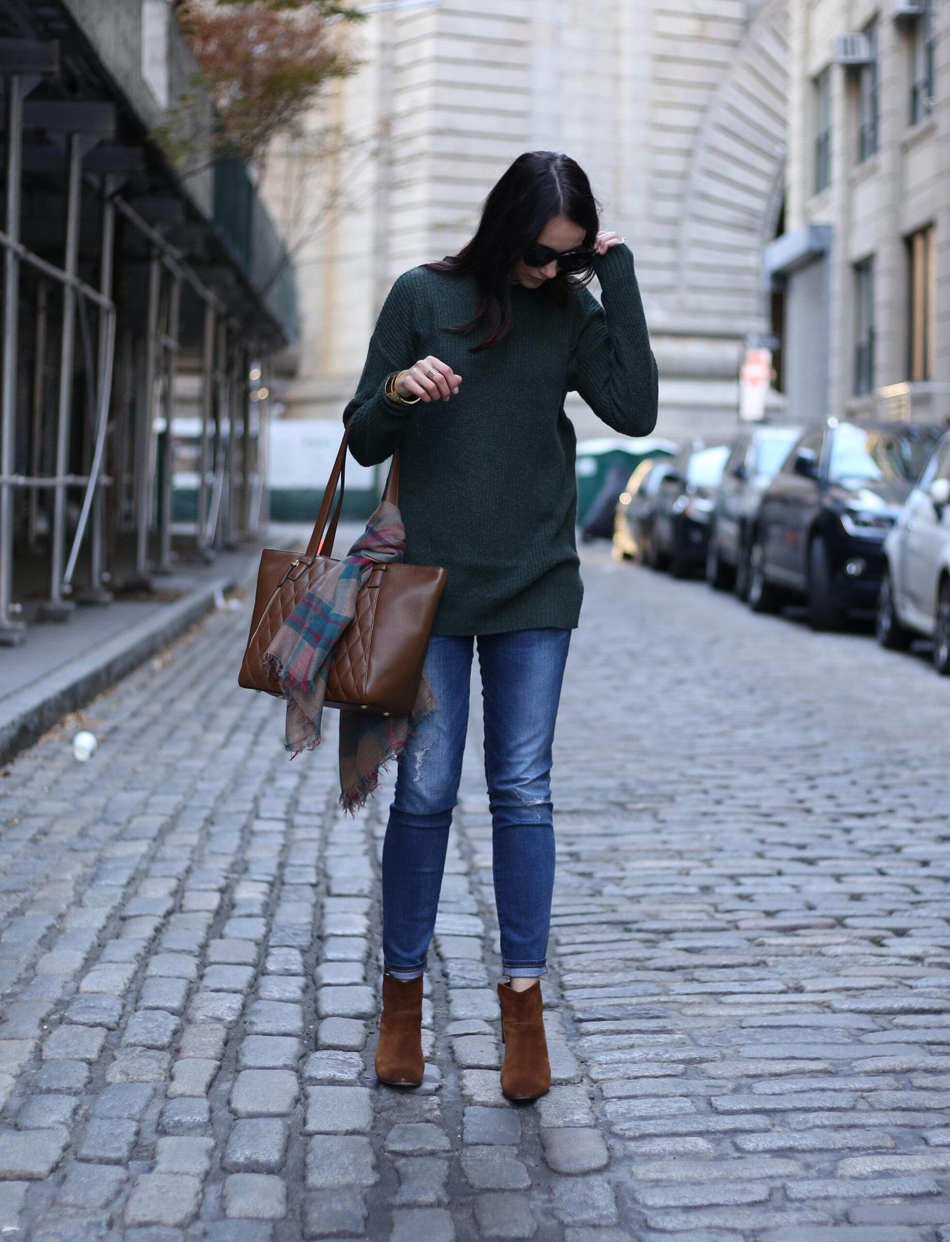 green oversized mock neck sweater