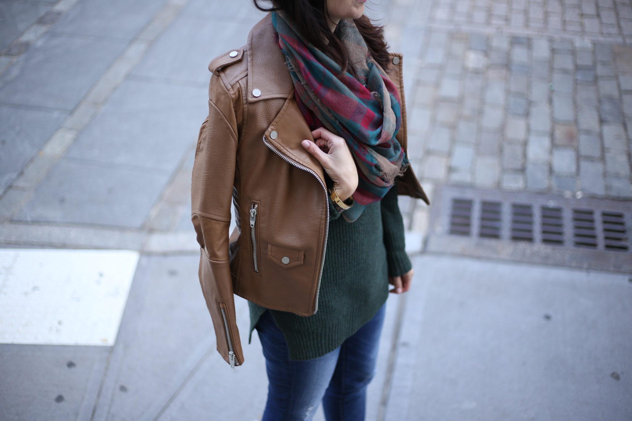 Casual Fall Look: Mock Neck Sweater & Suede Booties