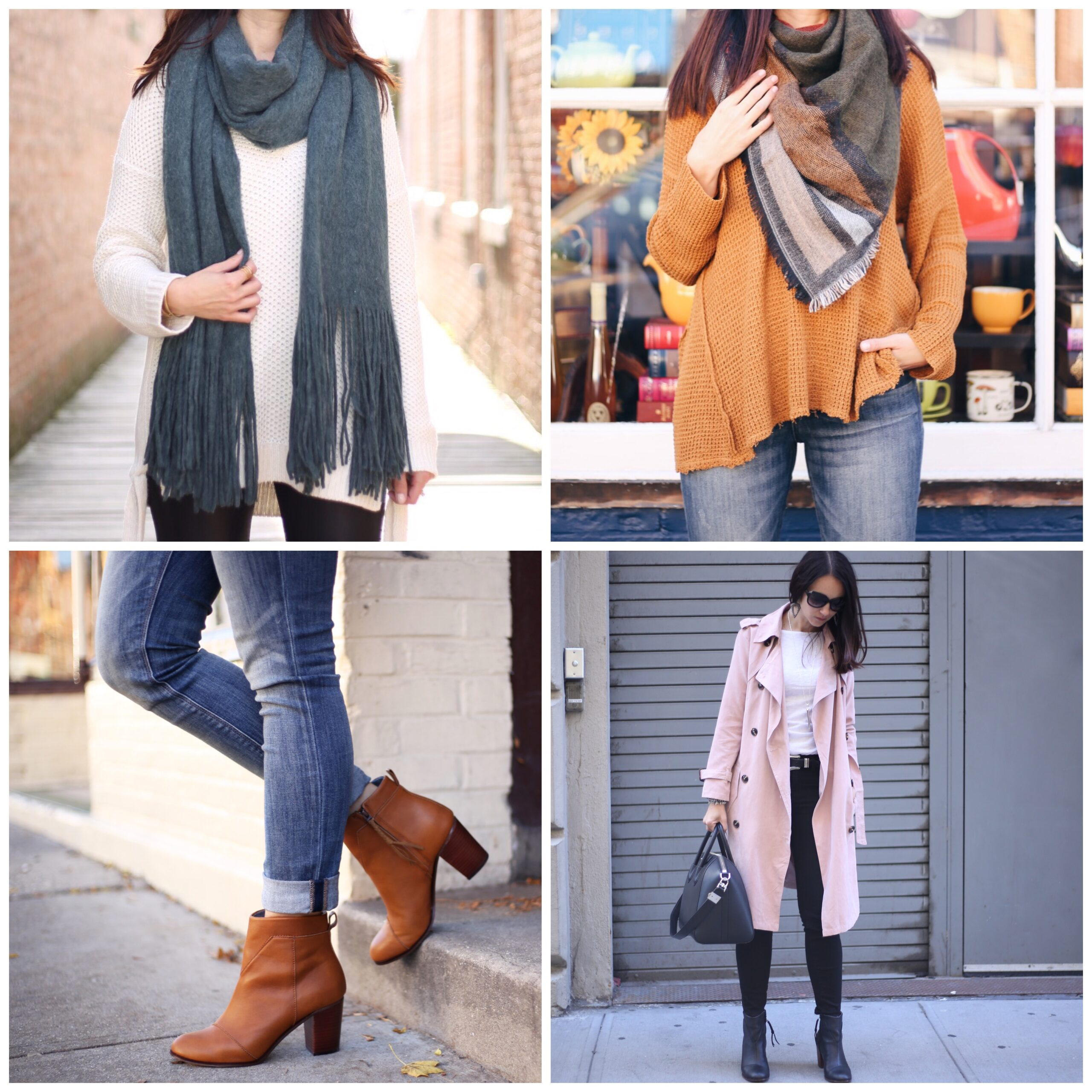 style blogger Anna Monteiro of Blushing Rose Style wearing fall outfits BP. scarf, Toms Lunata booties, chicwish trench coat