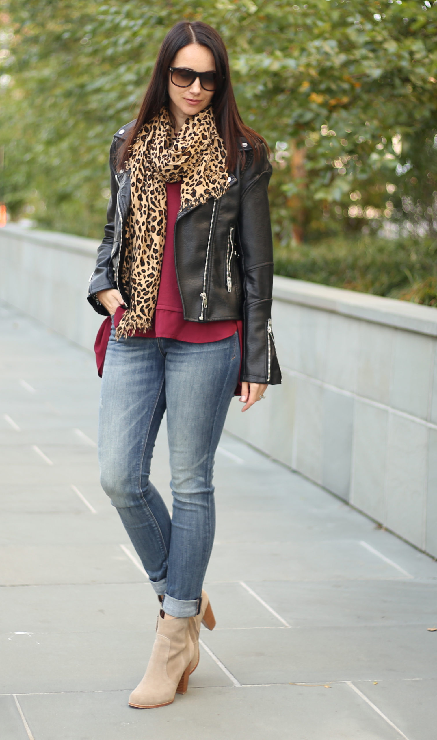 black leather moto leopard scarf