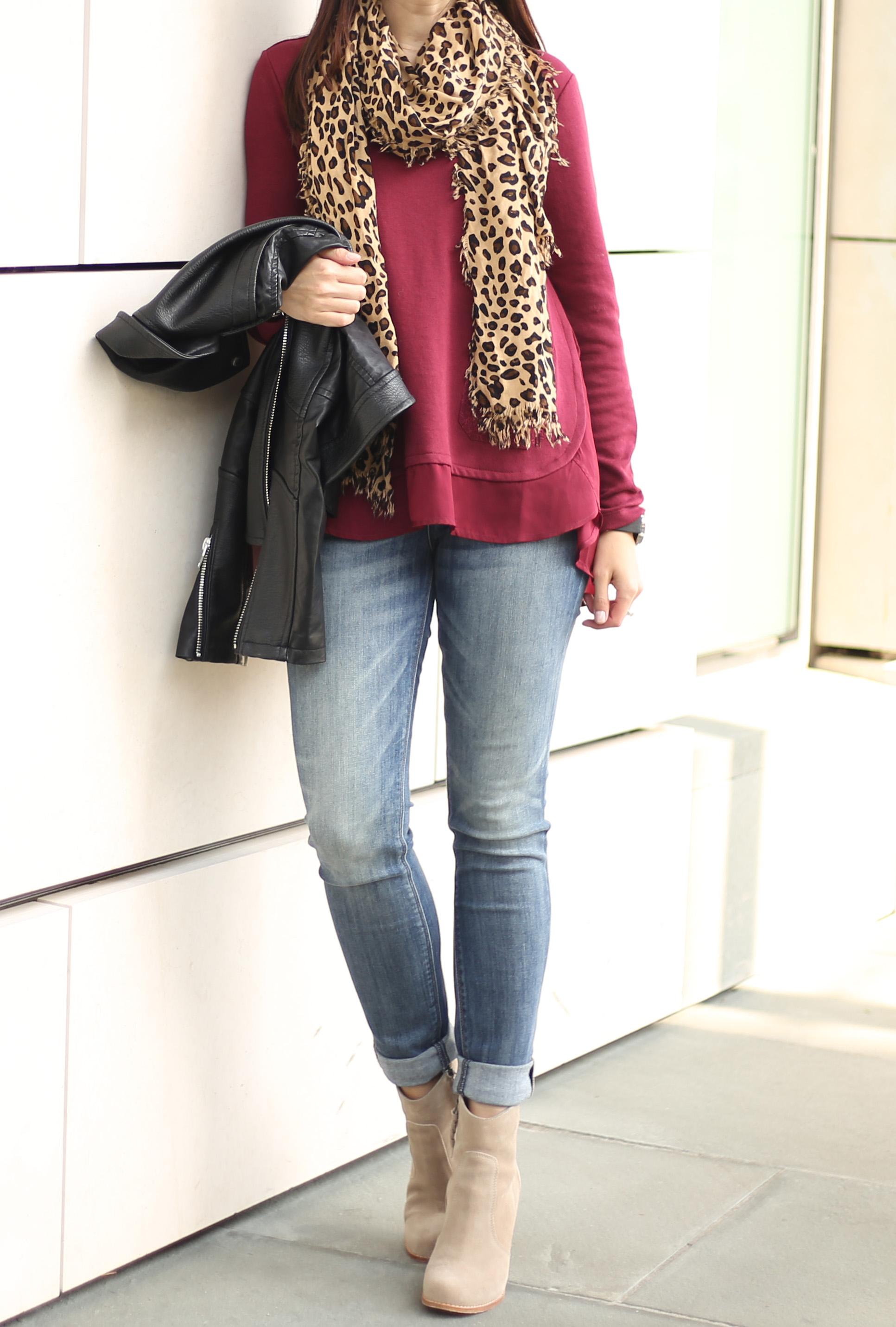burgundy top leopard scarf fall look