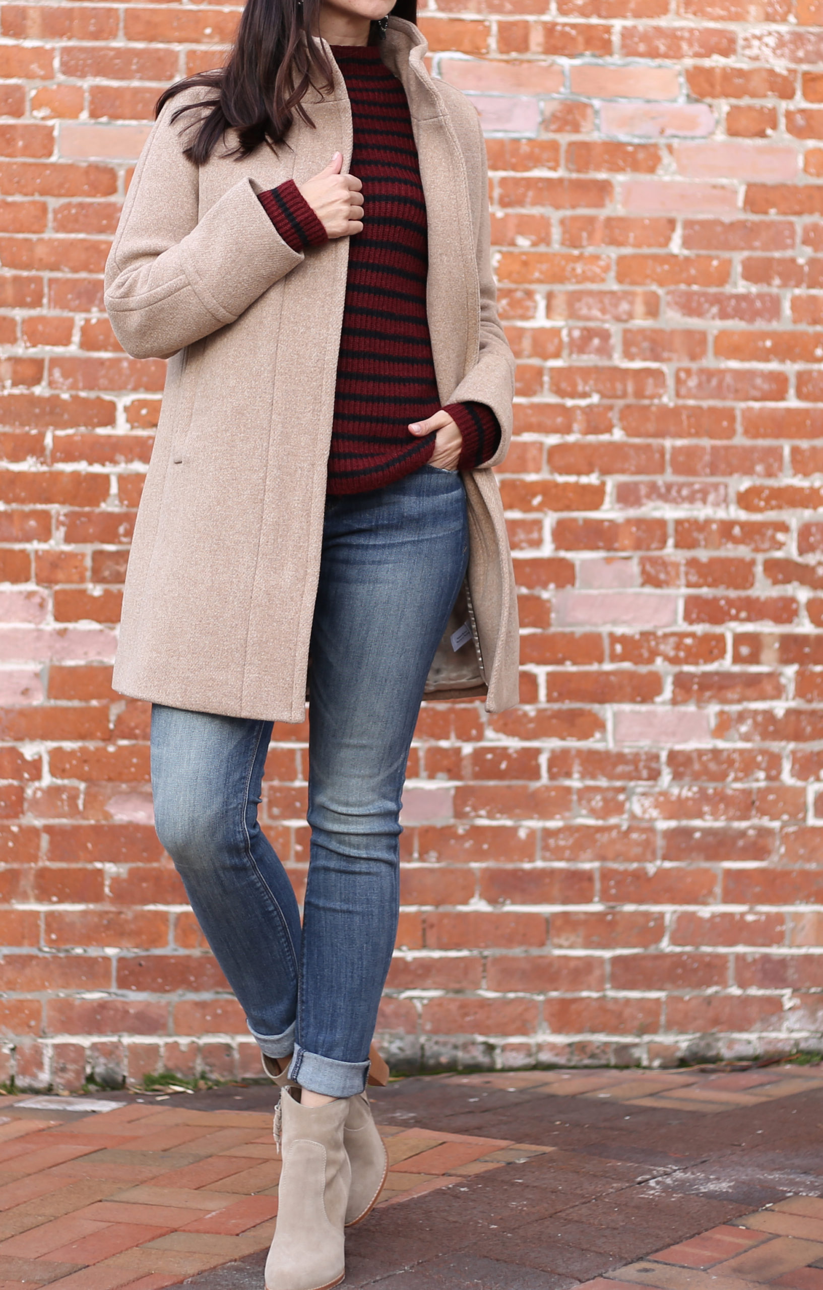 coat jeans fall outfit