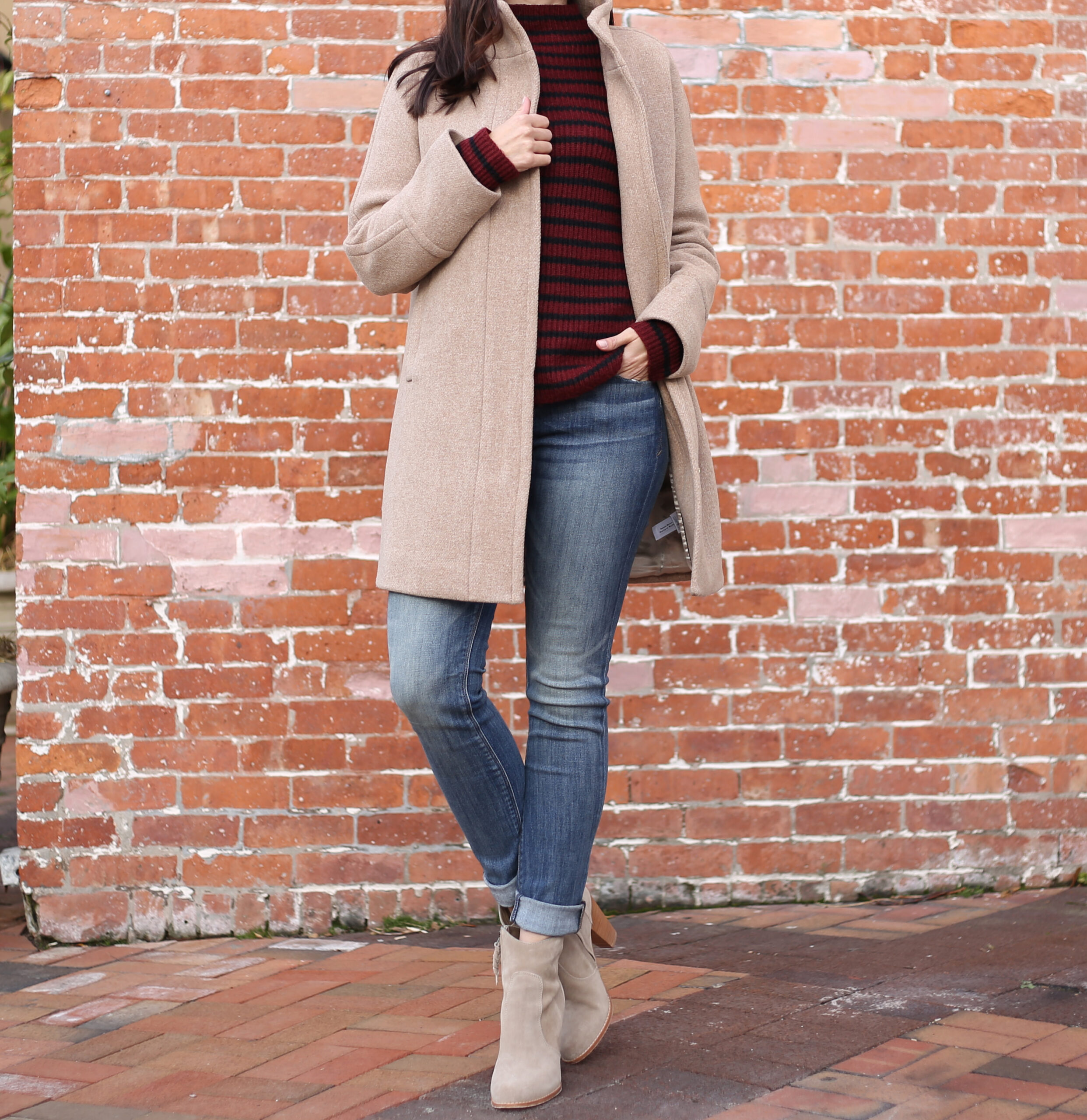 Anna Monteiro of blushing rose style blog wearing j.crew cocoon coat, express sweater and splendid booties