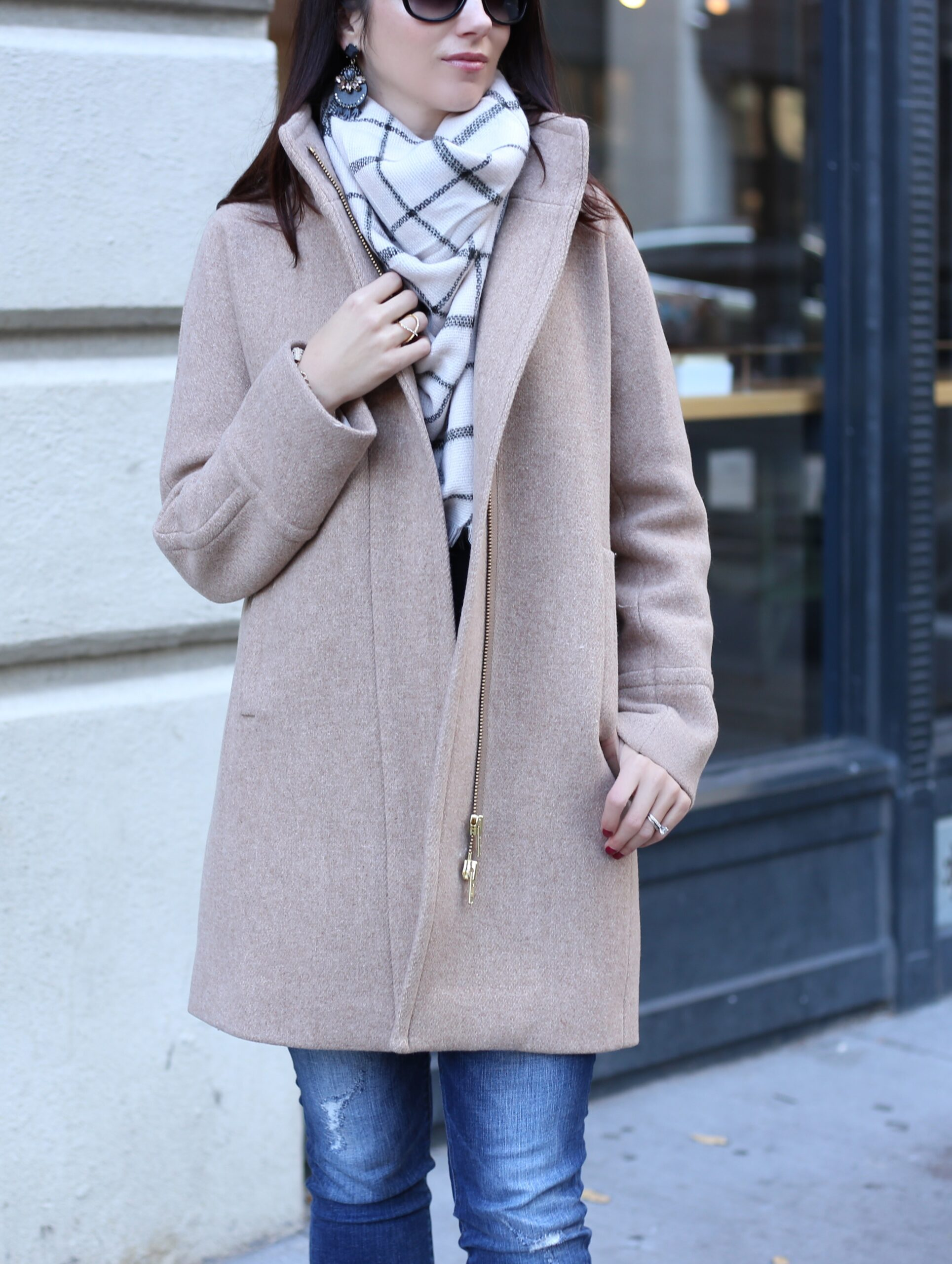 lifestyle blogger Anna Monteiro in J. Crew cocoon coat and BP. blanket scarf