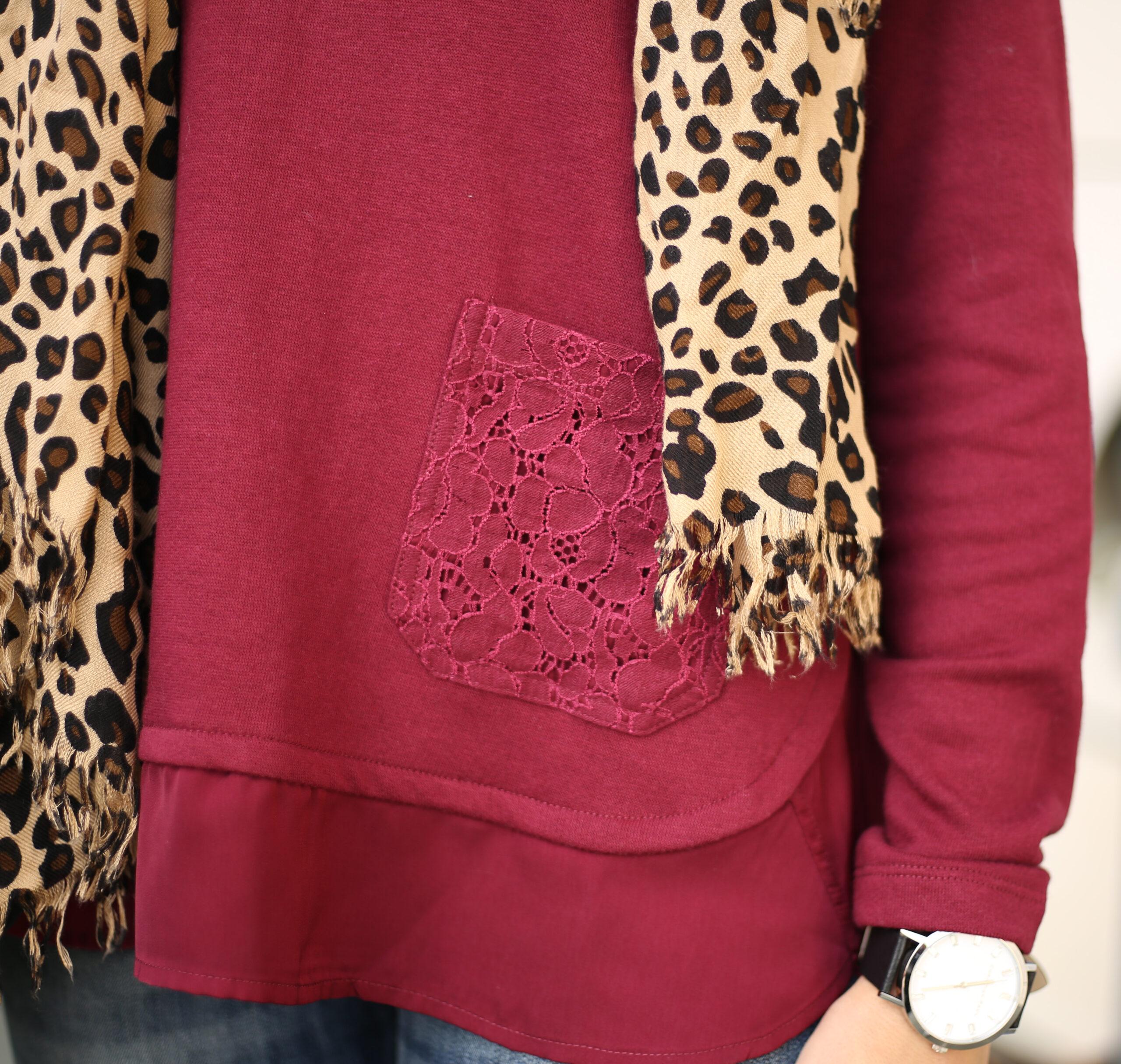 leopard scarf merlot top
