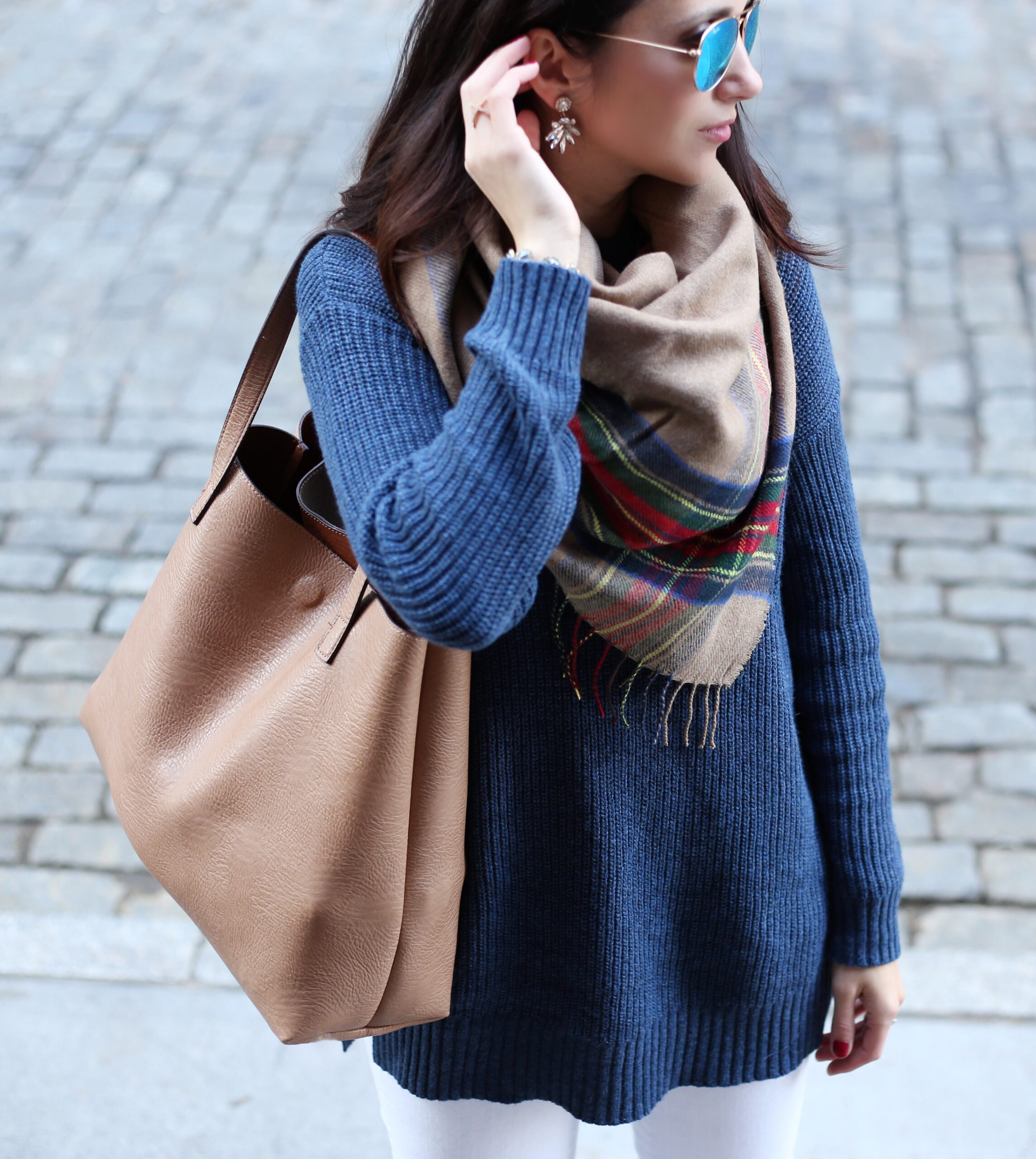Anna Monteiro of Blushing Rose Style wearing Street Level reversible tote and BP. mock neck sweater and plaid scarf