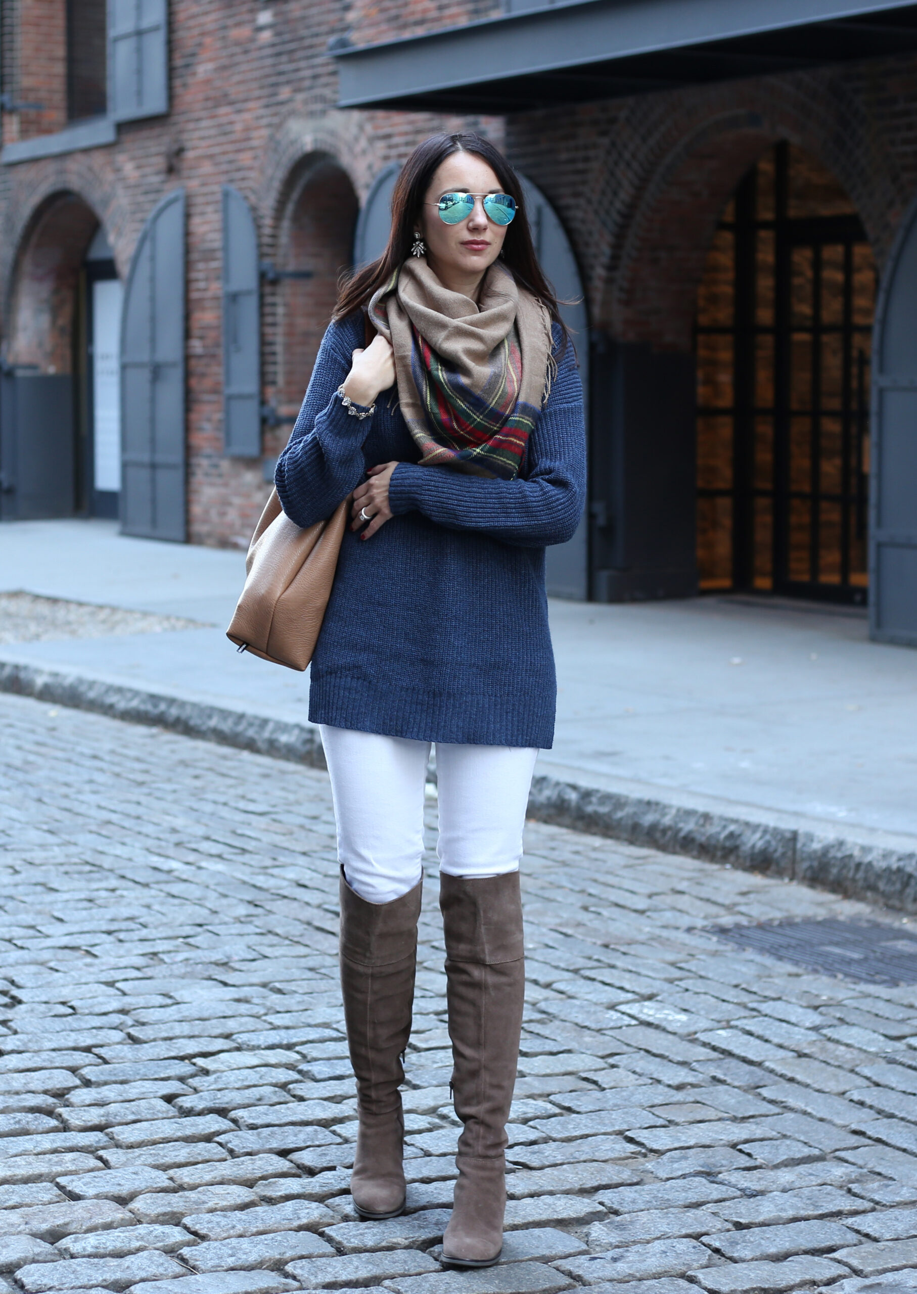 blogger Anna Monteiro of Blushing Rose Style wearing BP. mock neck sweater from Nordstrom, plaid blanket scarf and Steve Madden over the knee boots
