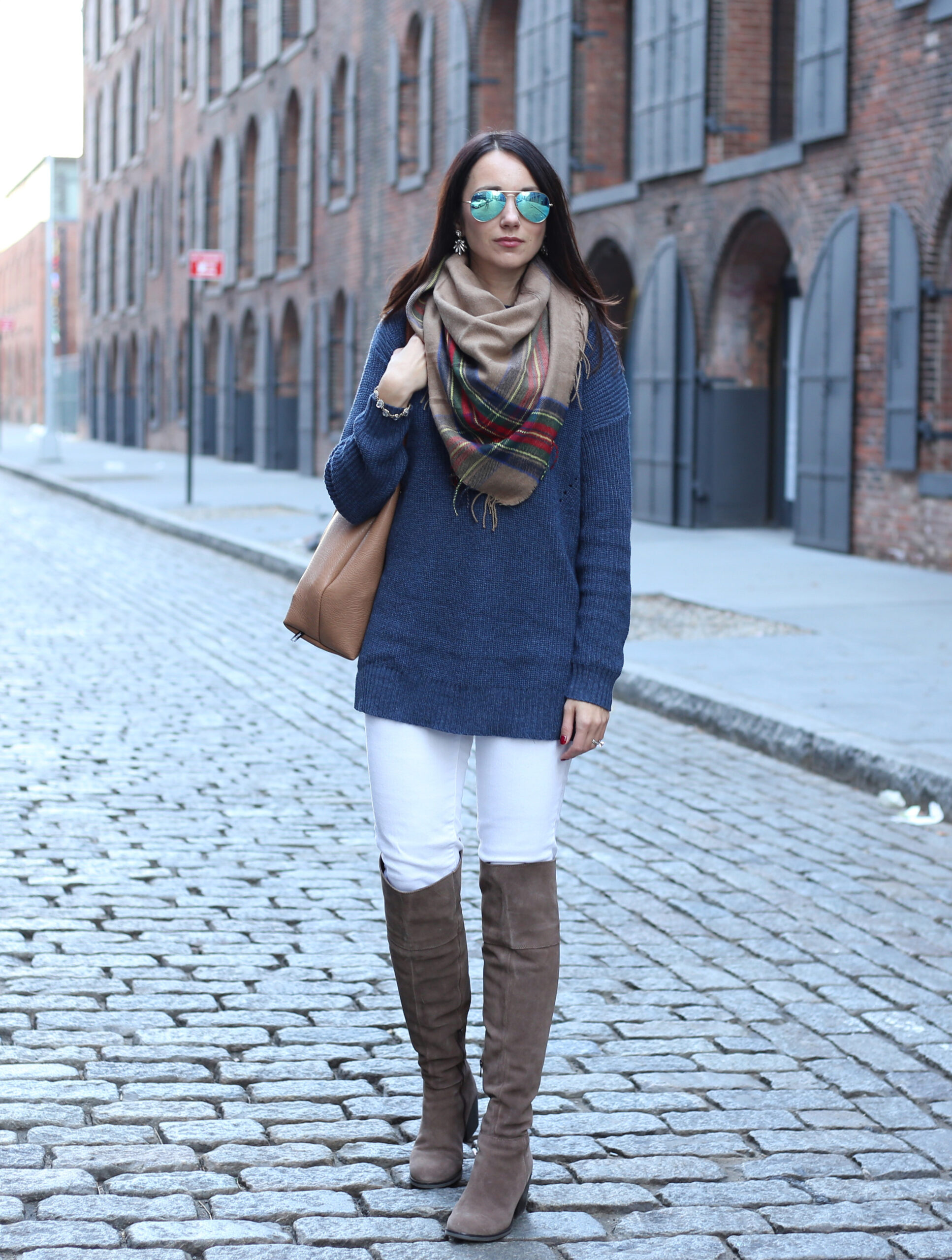 Anna Monteiro of Blushing Rose Style blog wearing white J.Crew toothpick denim, BP. blanket scarf, Ray Ban sunglasses from Nordstrom and Steve Madden over the knee Orla boots