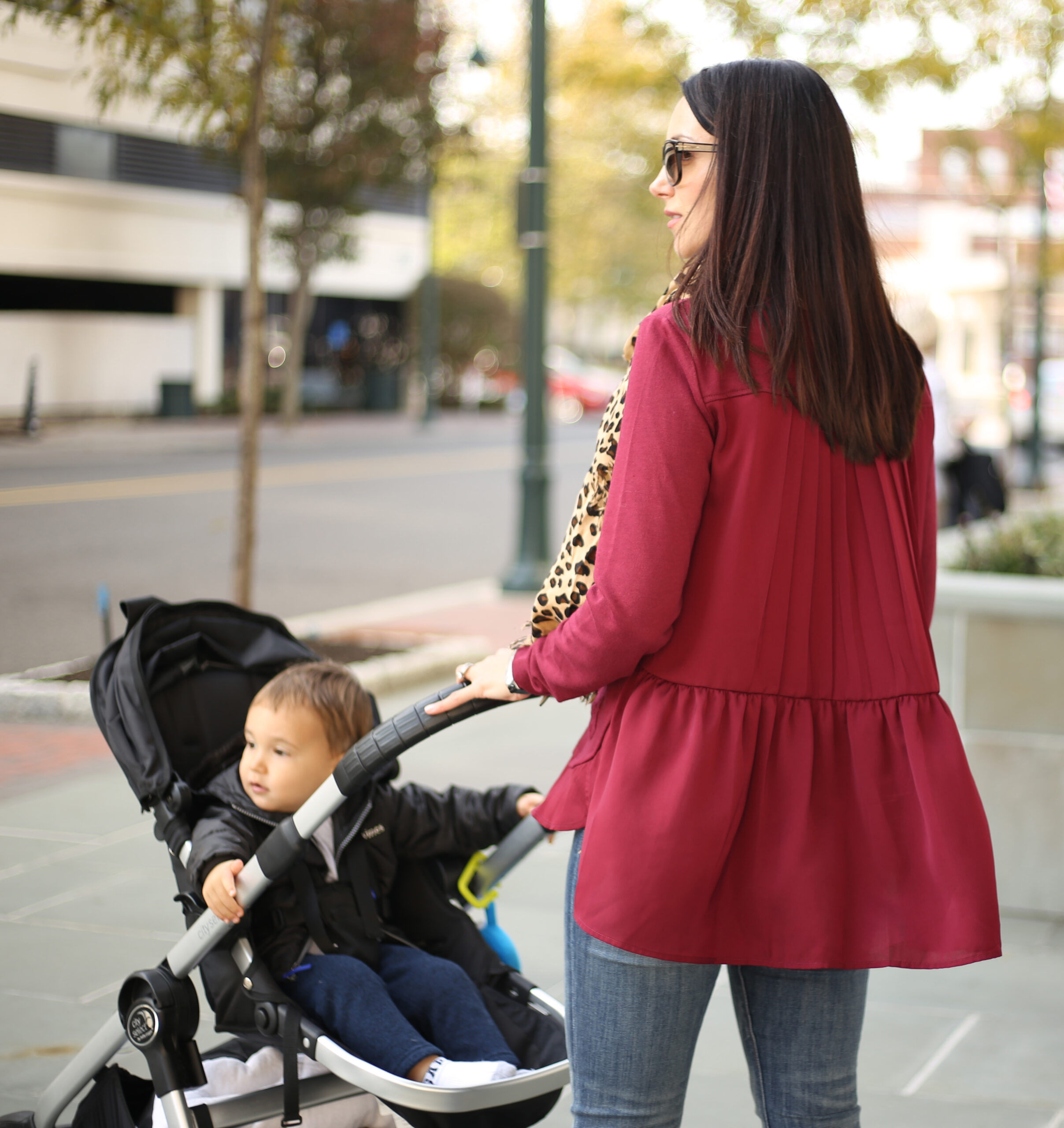 peplum top fall outfit baby jogger stroller