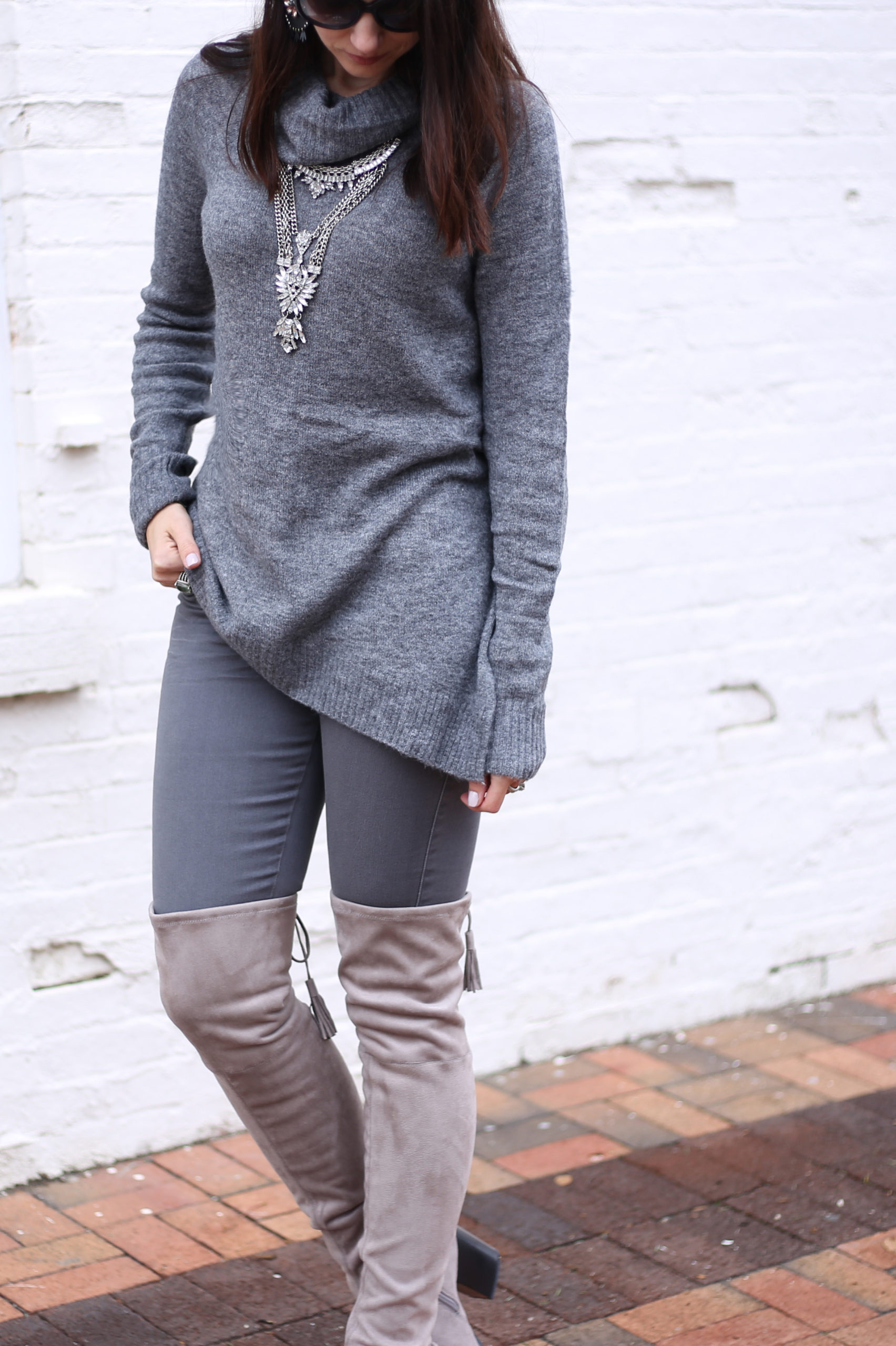 blogger Anna Monteiro of Blushing ROse Style wearing LOFT faur fur vest and Mrac Fisher over the knee alinda boots in grey