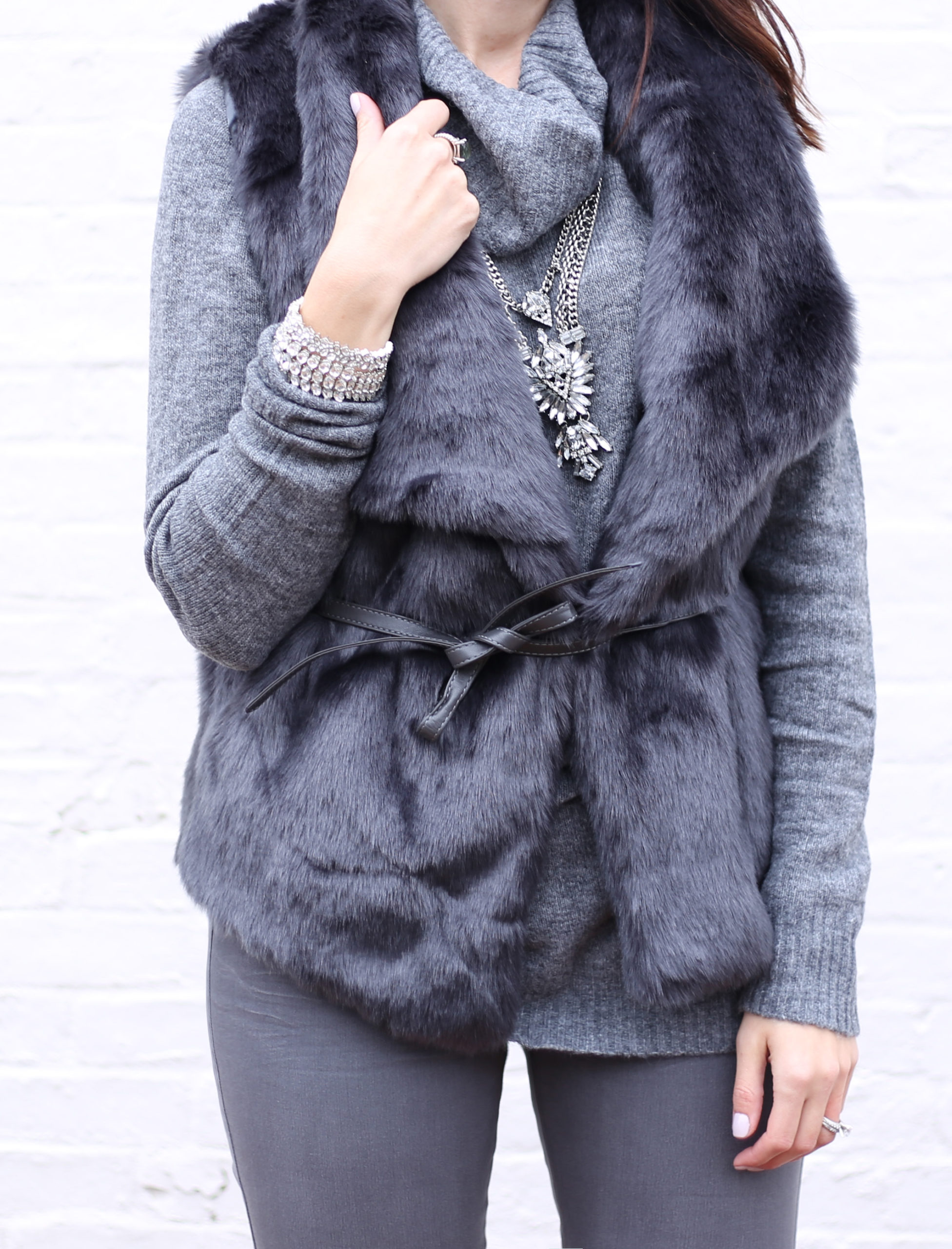 Faux Fur Vests and Over the Knee Boots