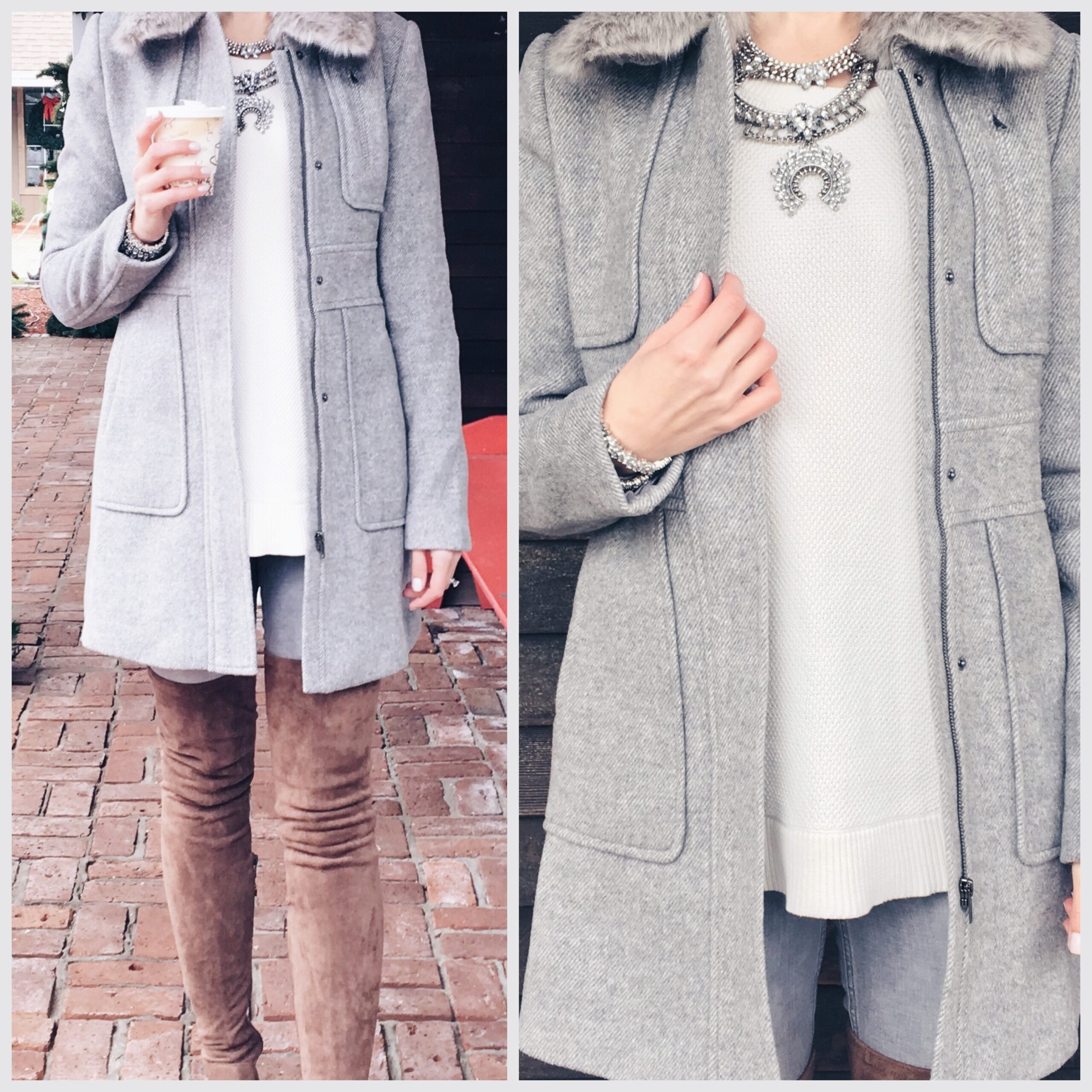 blogger Anna Monteiro of Blushing Rose Style blog wearing LOFT winter coat and Goodnight Macaroon over the knee boots, and BaubleBar bib neckalce