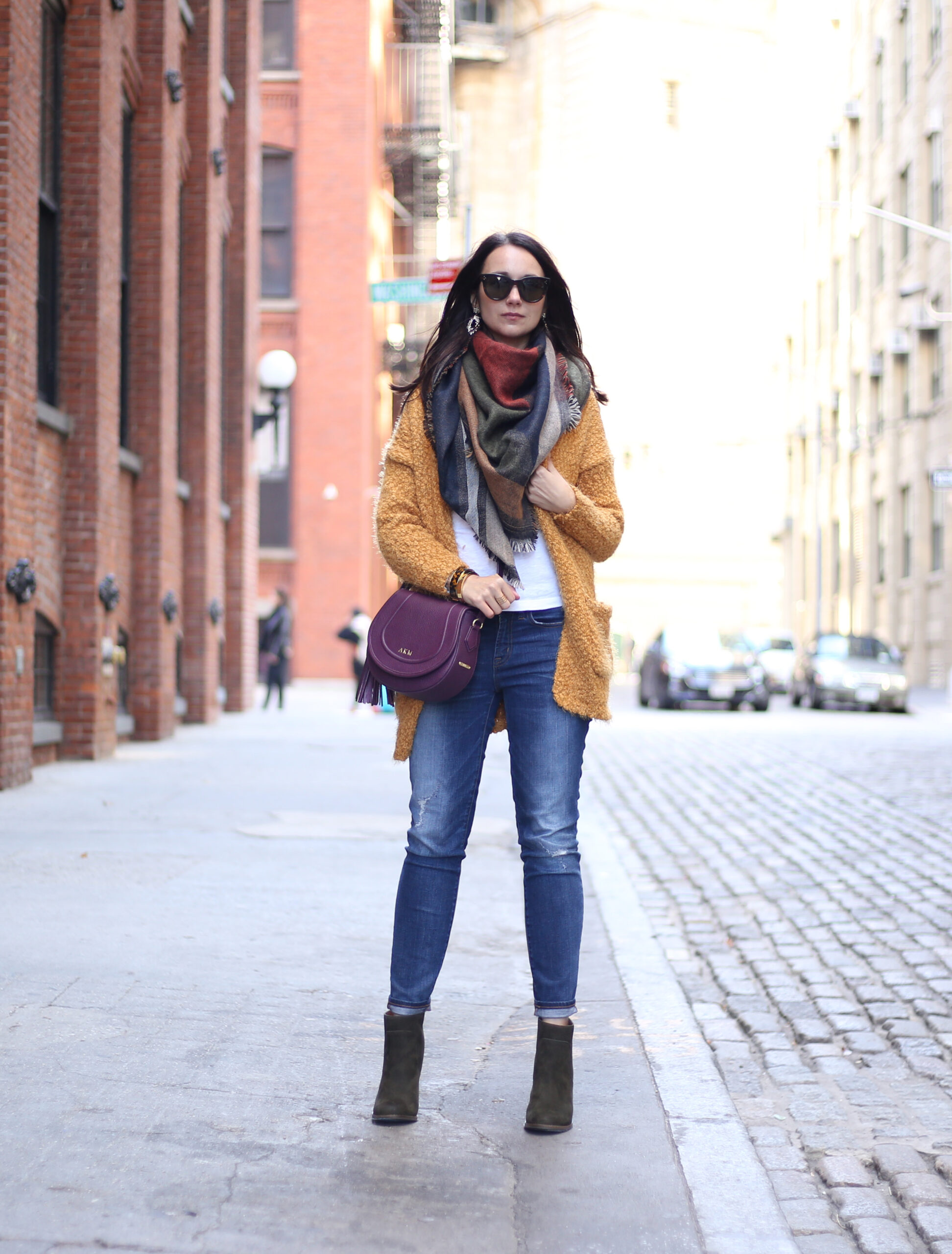 blogger Anna Monteiro of blushing rose style blog wearing mustard yellow open front cardigan and BP geometric blanket scarf from nordstrom