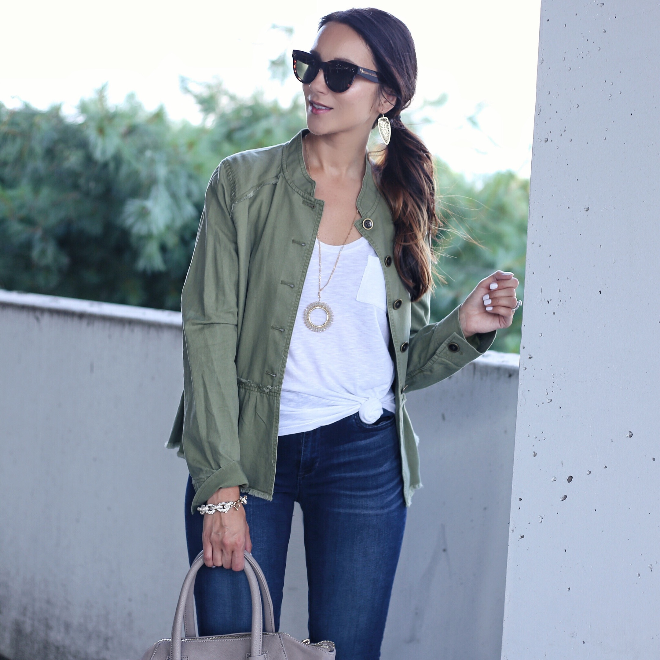 blogger Anna Monteiro of Blushing Rose Style wearing peplum twill jacket from Nordstrom Anniversary Sale 2017
