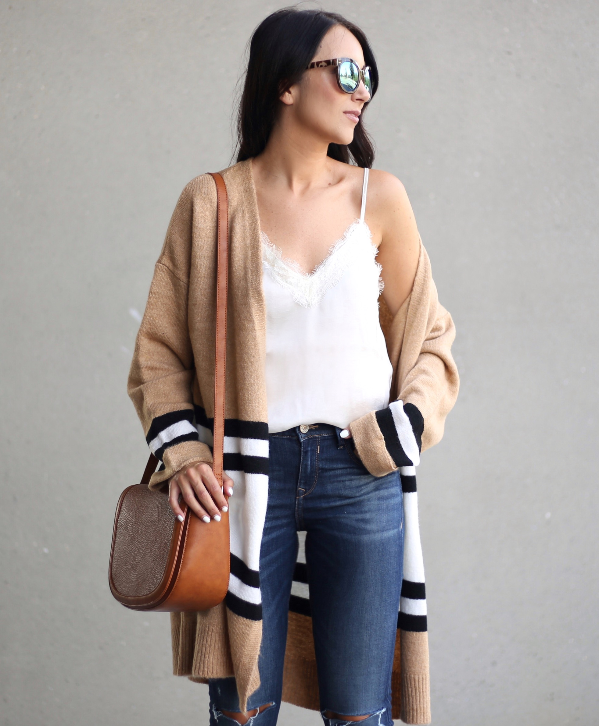 blogger Anna Monteiro of Blushing Rose Style blog wearing lace trim satin BP. camisole from Nordstrom Anniversary Sale 2017