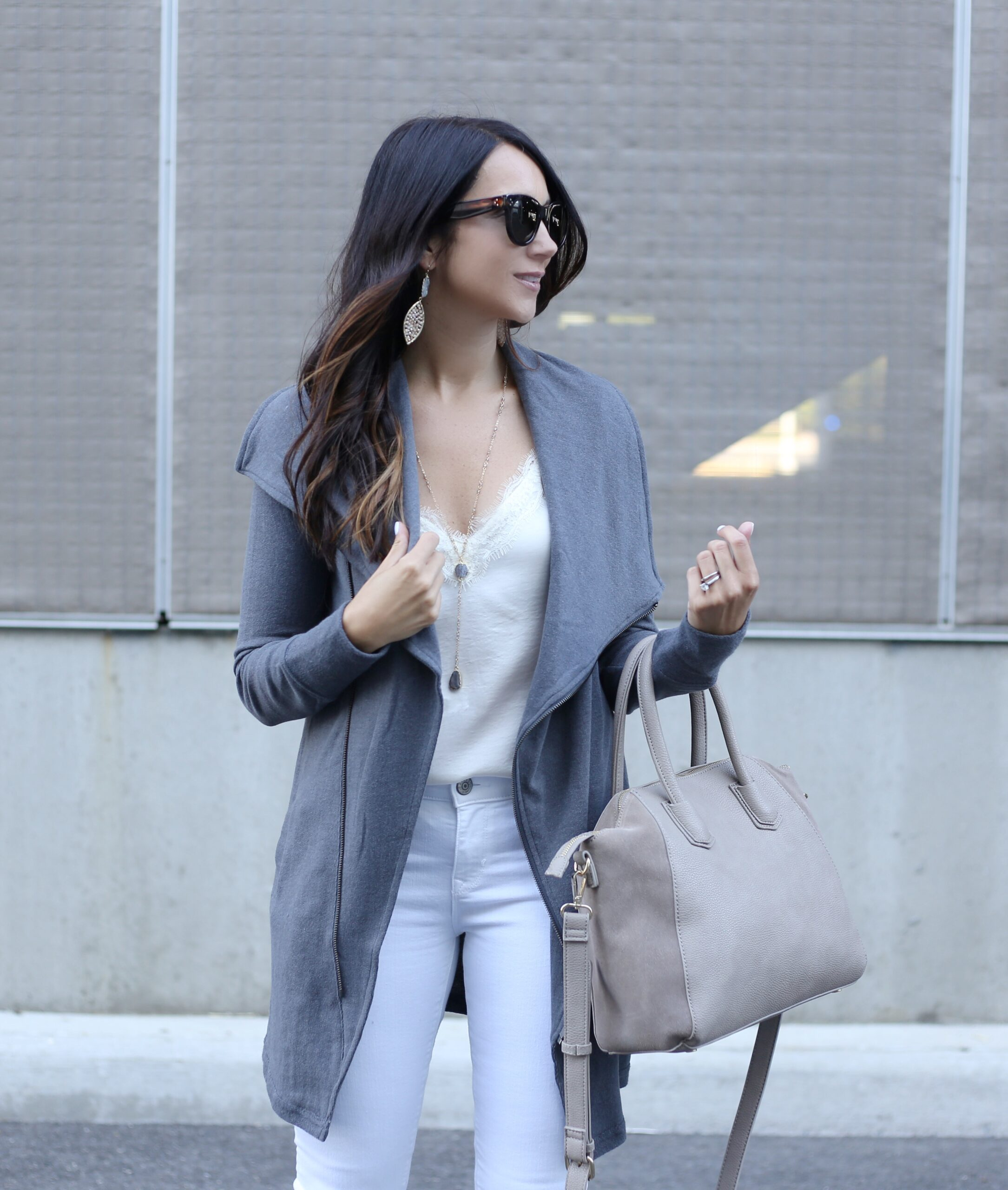 blogger Anna Monteiro of Blushing Rose Style blog wearing white lce trim cami and sole society satchel from the Nordstrom Anniversary Sale 2017