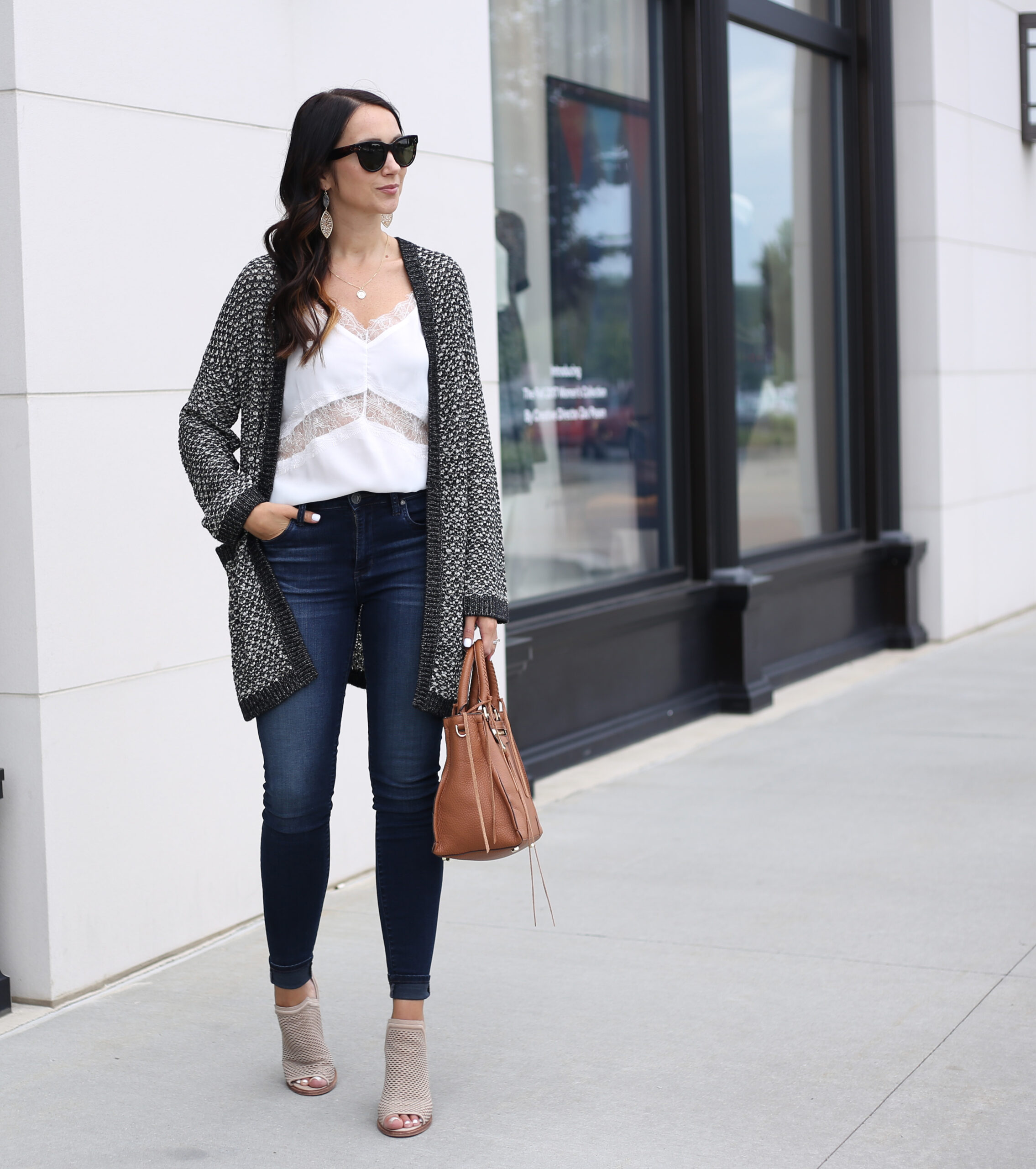 fashion blogger Anna Monteiro of blushing rose style blog wearing perfect fall cardigans caslon textured boyfriend cardigan and lace trim camisole with rebecca minkoff regan satchel from nordstrom