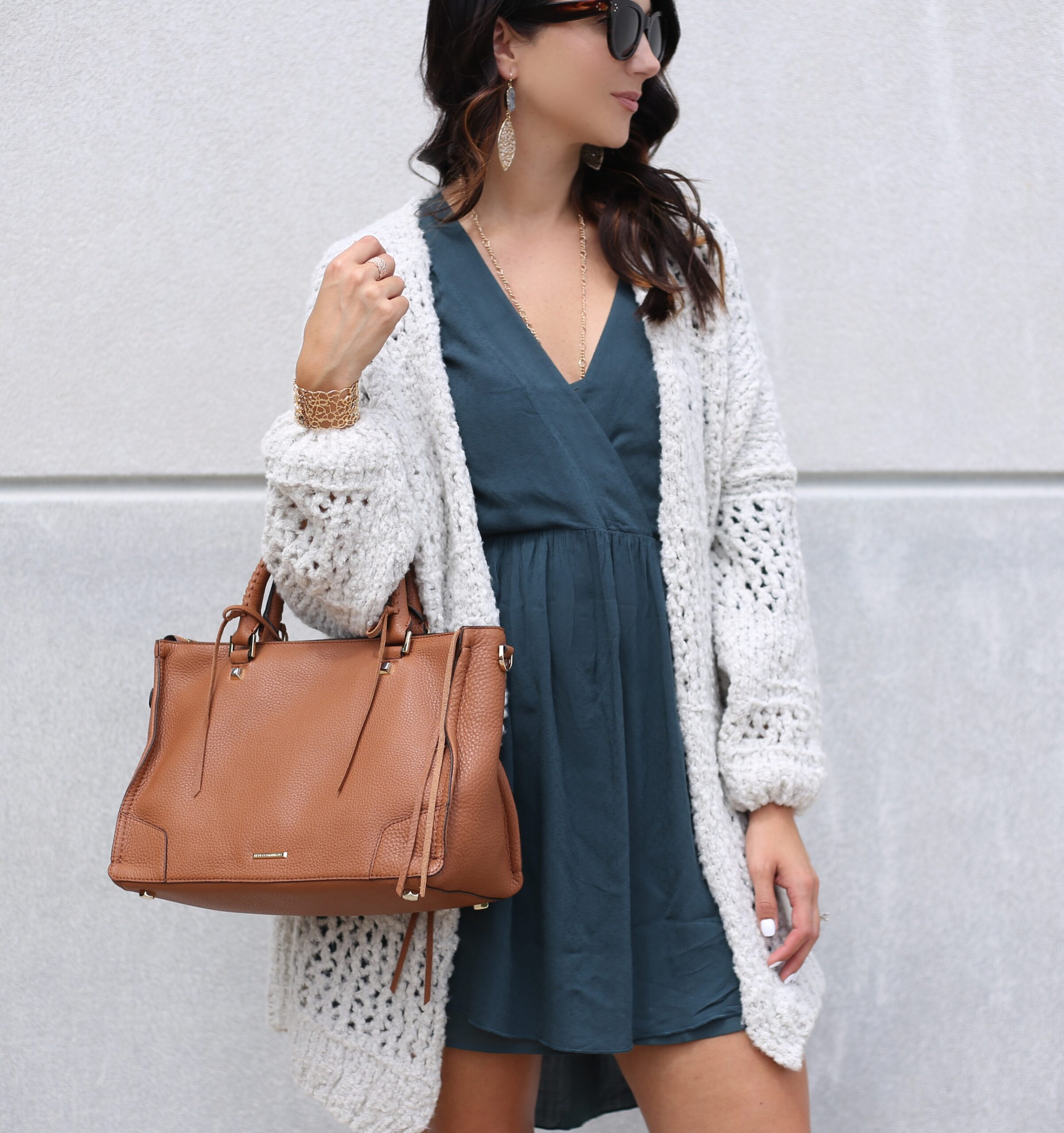 fashion blogger Anna Monteiro of Blushing Rose Style blog wearing perfect fall cardigans free people saturday morning cardigan and hinge babydoll dress from nordstrom