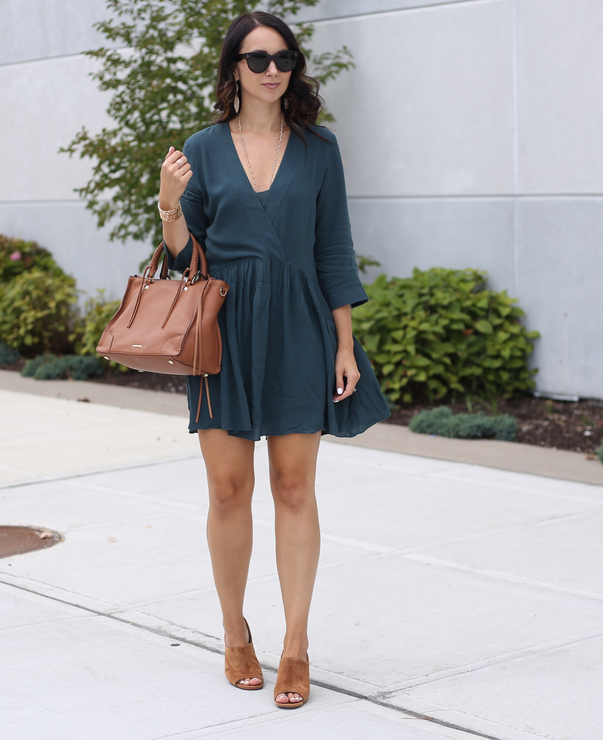 fashion blogger Anna Monteiro of Blushing ROse Style blog wearing perfect fall cardigans and hinge baby doll dress in green gables from nordstrom