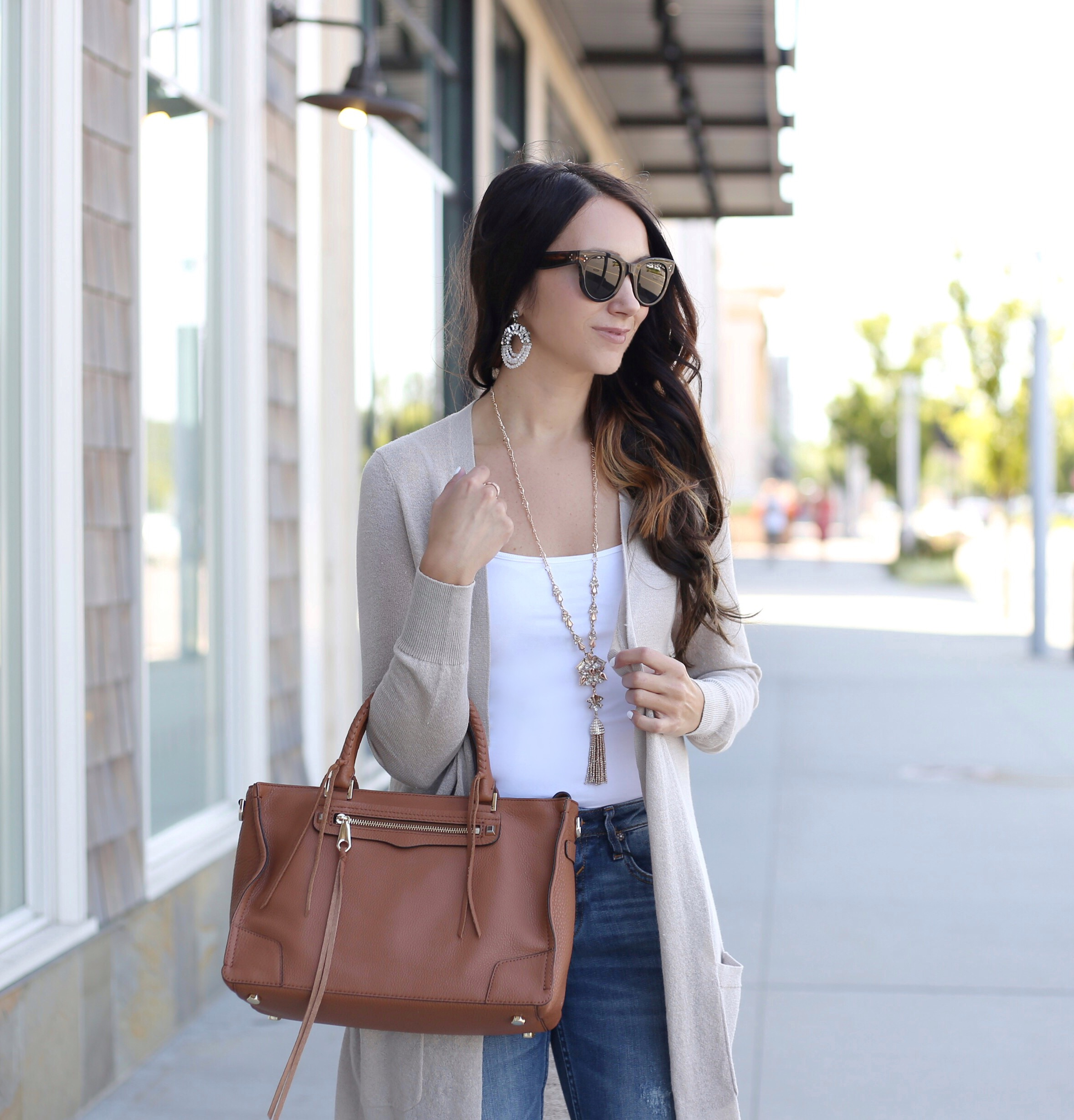 blogger Anna Monteiro of blushing rose style blog wearing rebecca minkoff regan satchel from nordstrom in fall wardrobe update