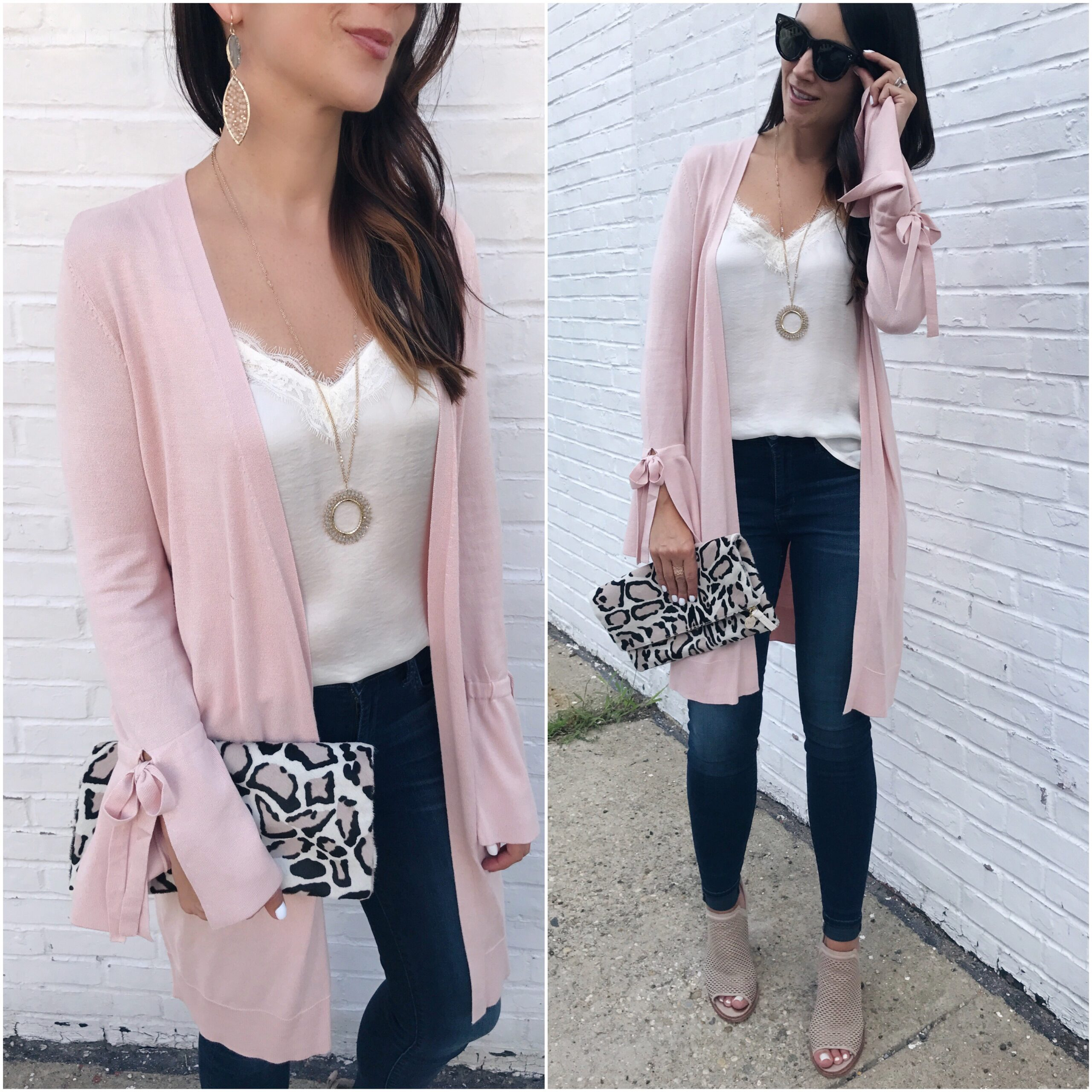 fashion blogger Anna Monteiro of Blushing Rose STyle wearing halogen tie sleeve cardigan in pink smoke clare v leopard clutch and lace trim camisole from nordstrom in summer to fall outfits
