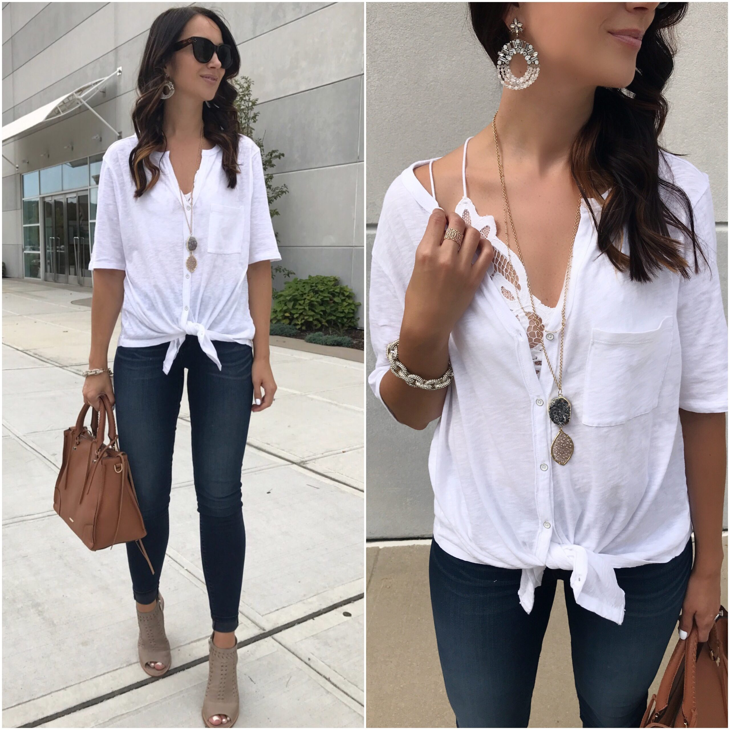 fashion blogger Anna Monteiro wearing caslon tee panacea jewelry rebecca minkoff regan satchel from nordstrom in summer to fall outfits