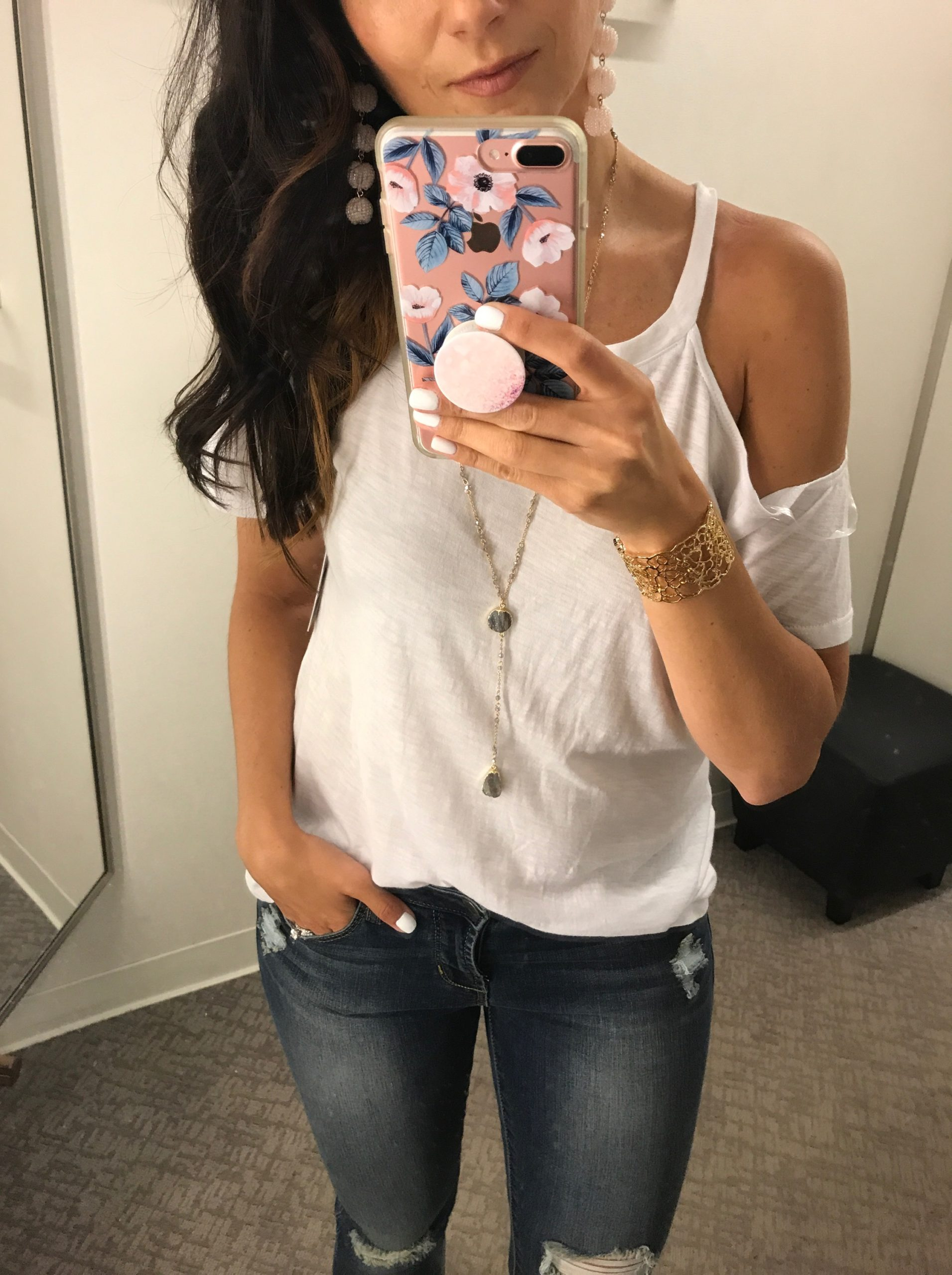 Anna Monteiro of Blushing ROse STyle fashion blog wearing BP cold shoulder tee from Nordstrom Anniversary Sale