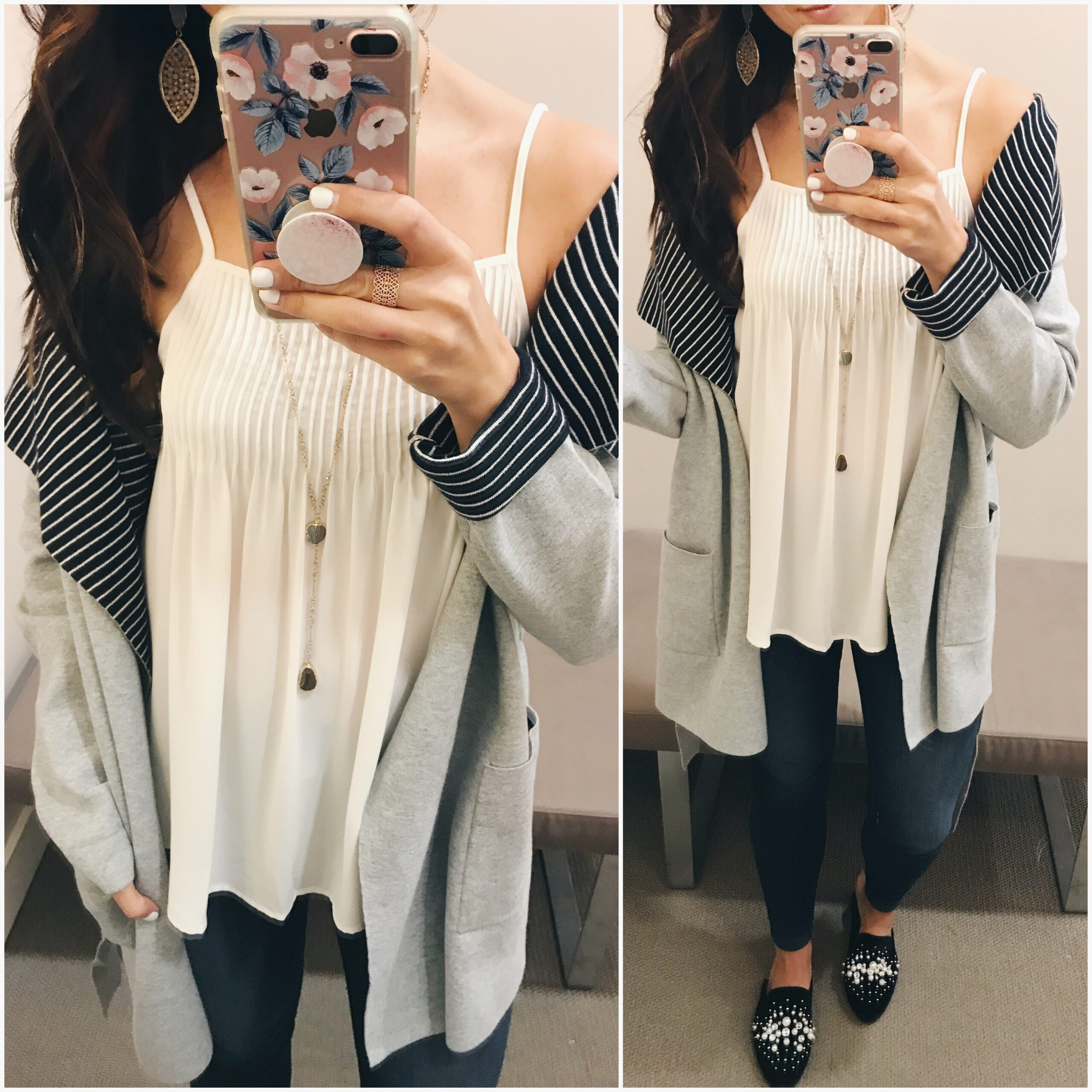 blogger Anna Monteiro of blushing rose style blog wearing cardigan and camisole from labor day weekend sale round up