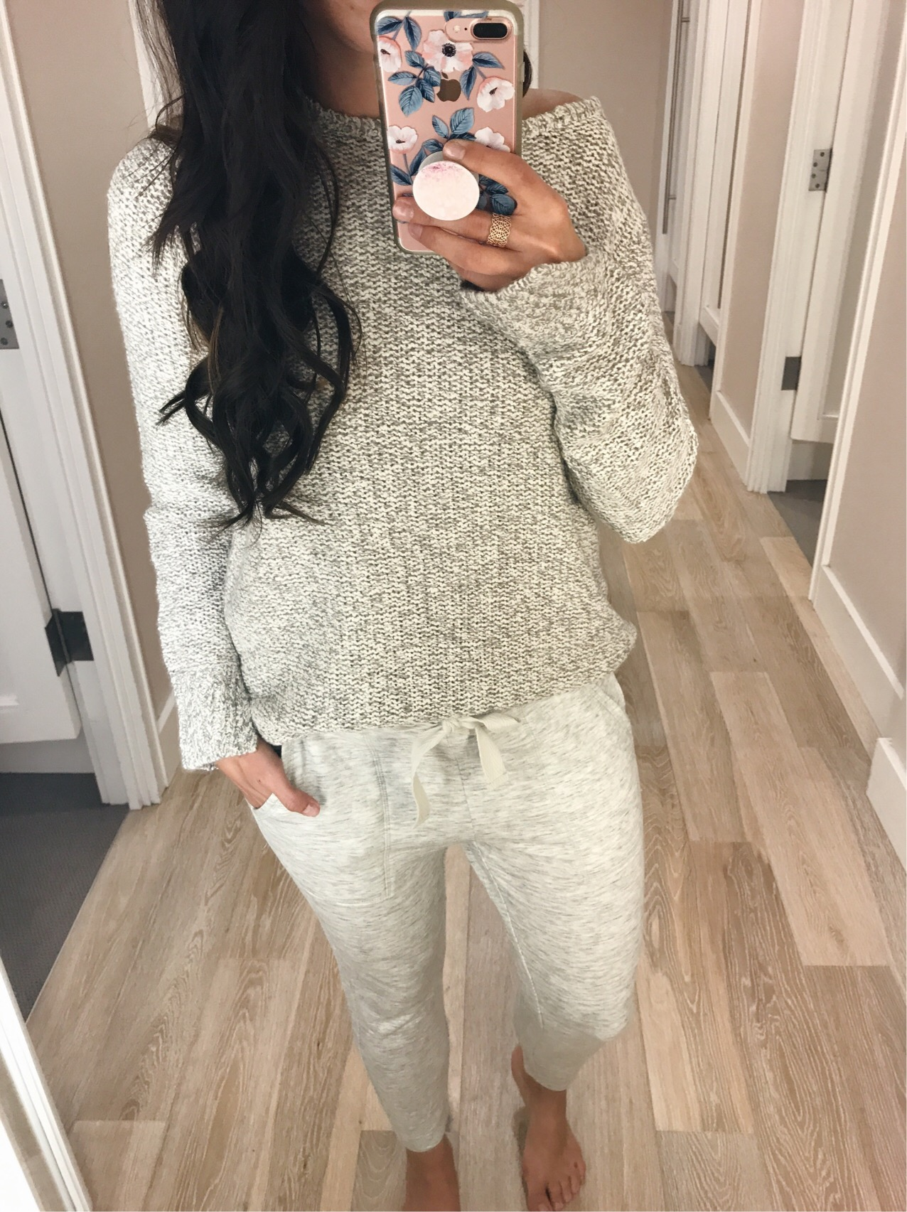 blogger Anna Monterio of Blushing Rose Style wearing LOFT sweater from Labor day weekend sales