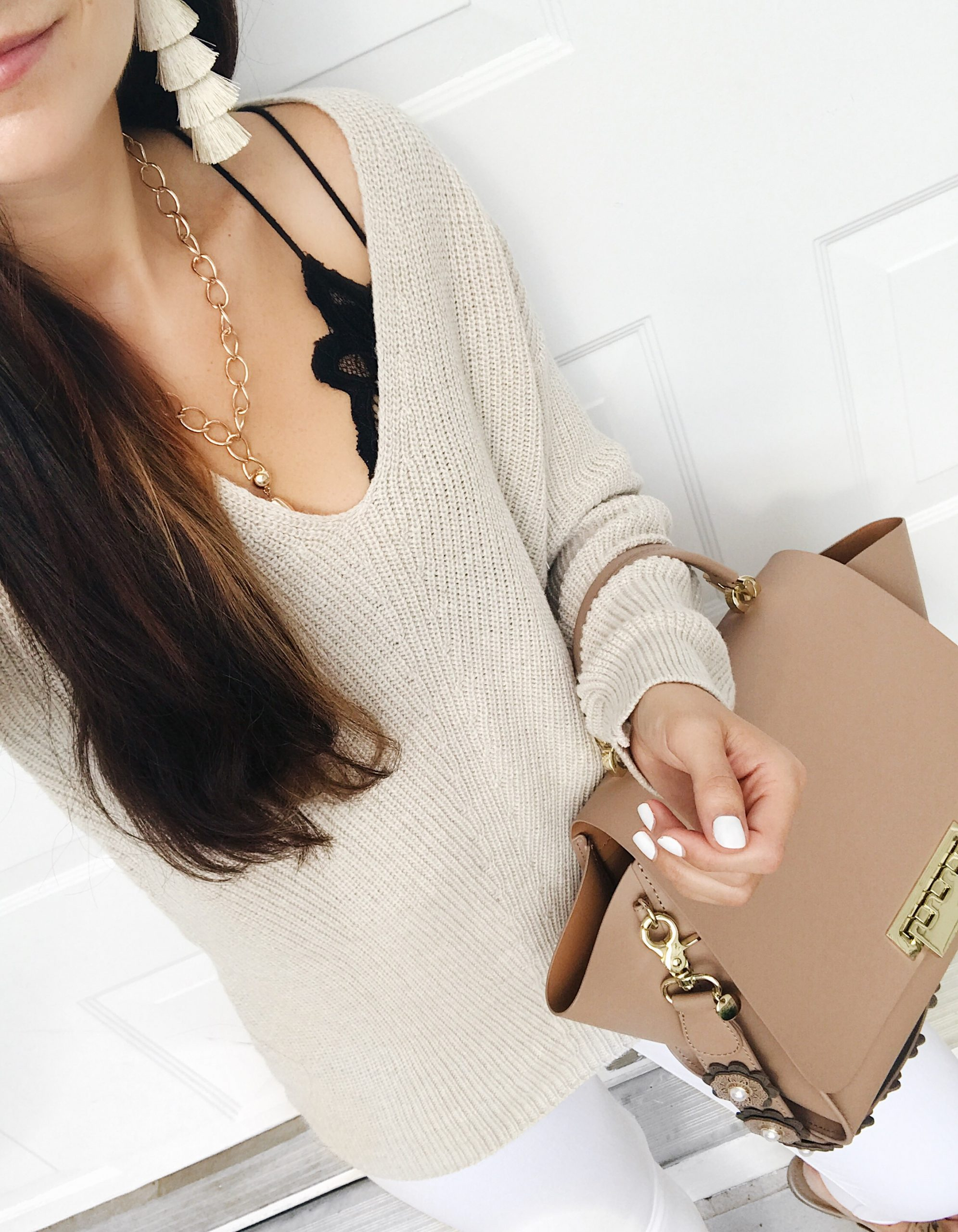 blogger Anna Monteiro of Blushing Rose Style blog wearing Fall Outfits BP pullover, Free People bralette and Zac Zac Posen Eartha bag