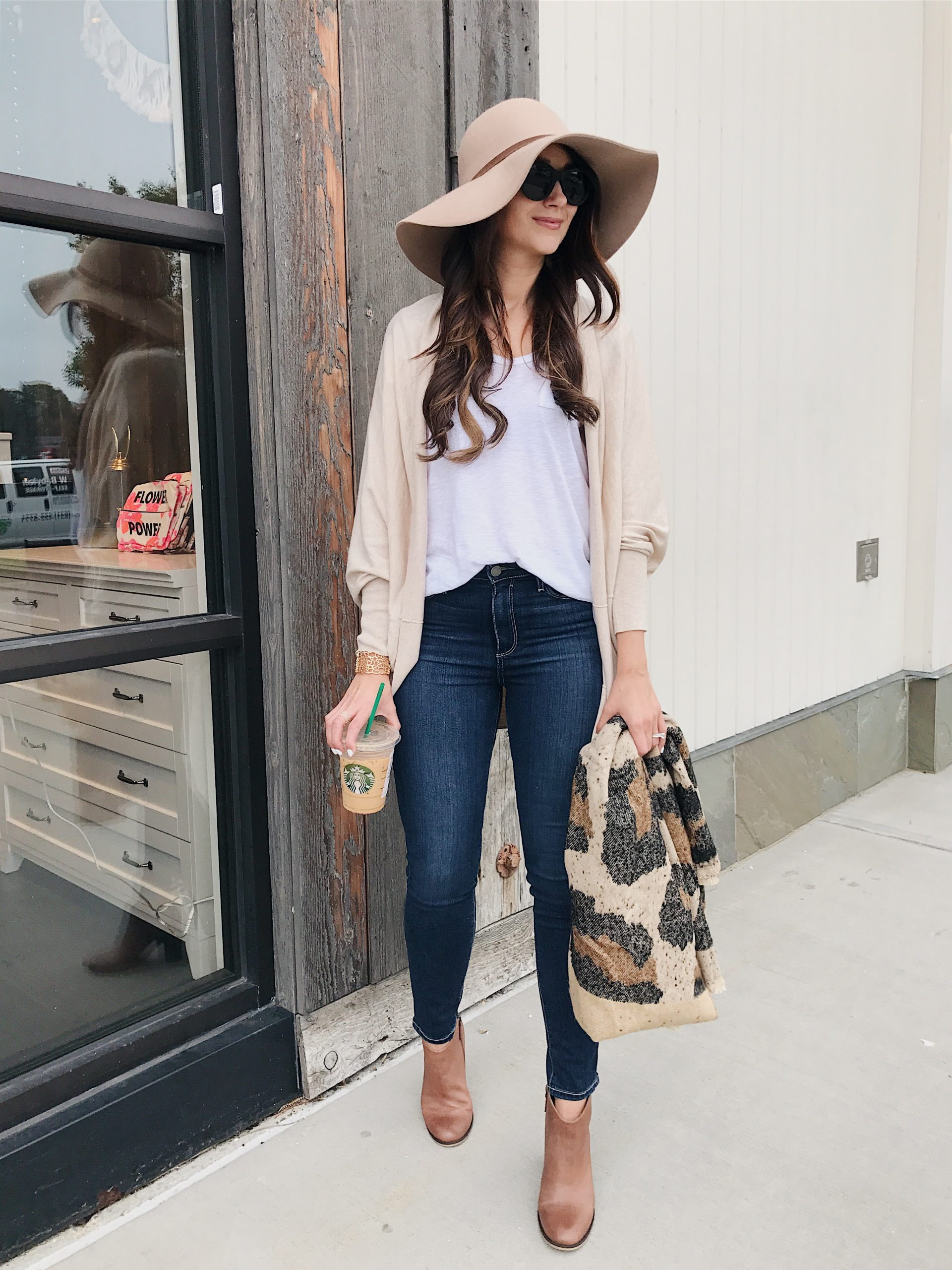 blogger Anna Monteiro of Blushing Rose Style wearing cocoon wrap, floppy hat and paige denim from Nordstrom