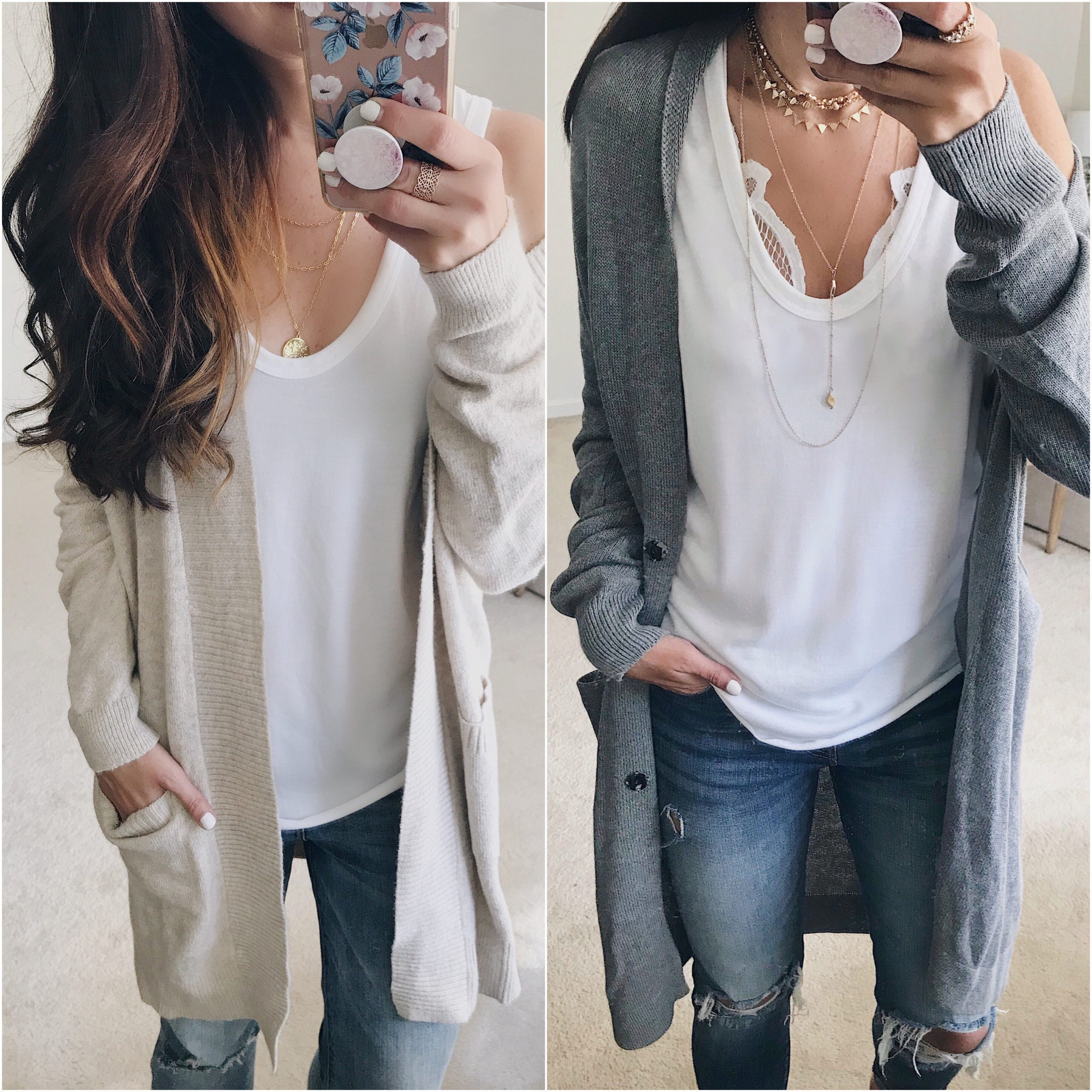 anna monteiro of blushing rose style blog wearing cozy fall sweaters and slouchy tank top