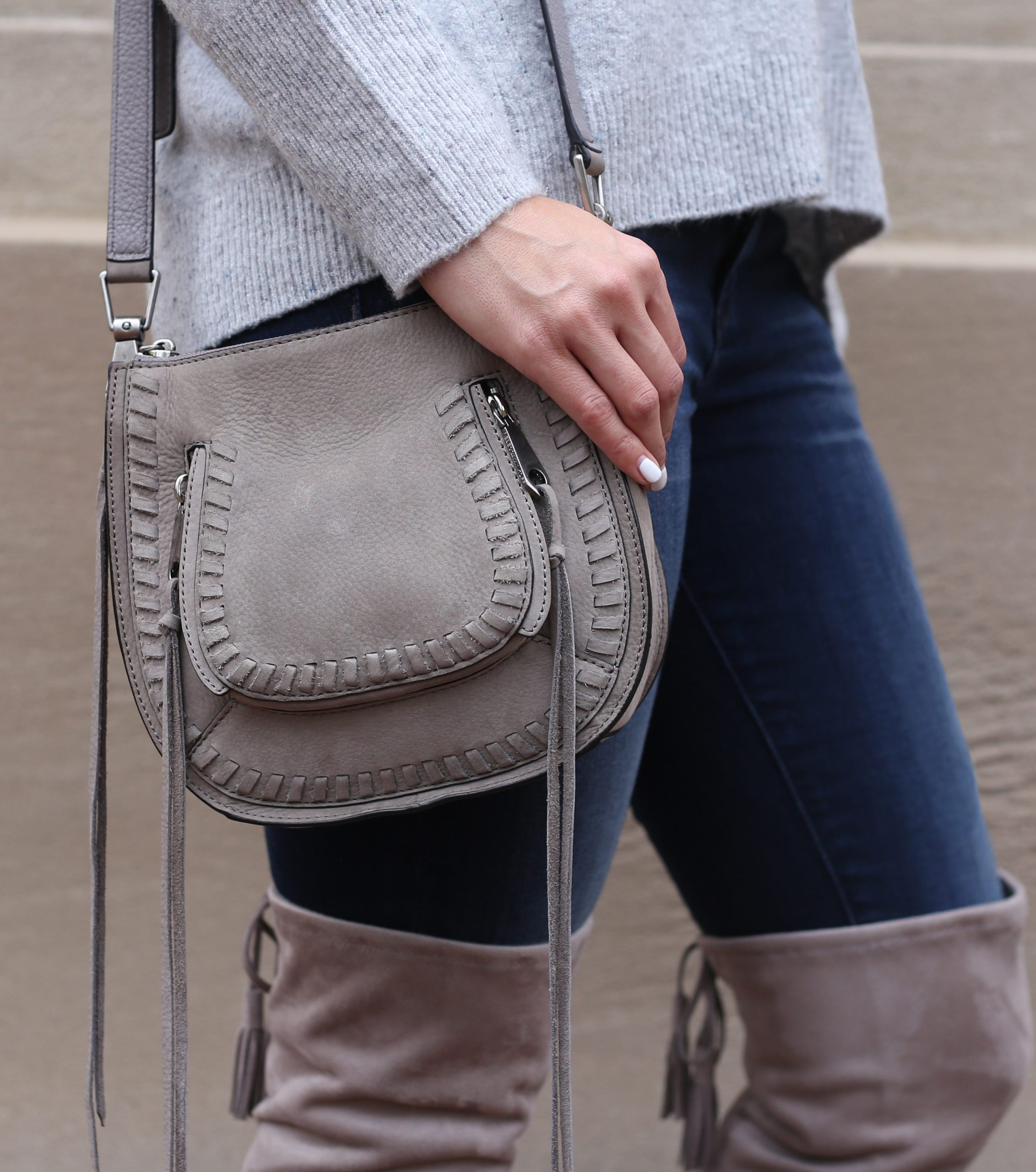 blogger Anna Monteiro of Blushing Rose Style wearing over the knee boots with skinny jeans and rebbecca minkoff bag in cozy fall sweaters