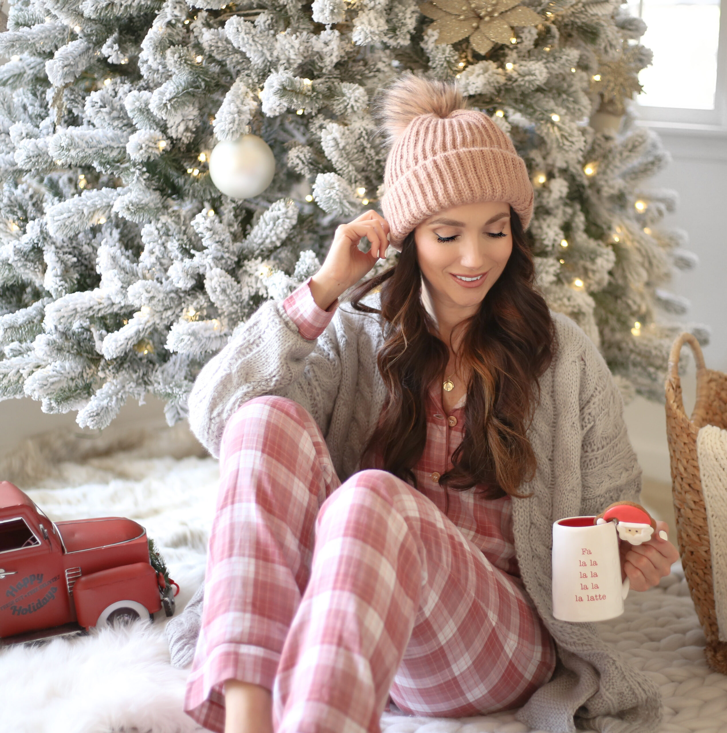 cozy for the holidays, flocked christmas tree, plaid pajamas, beanie