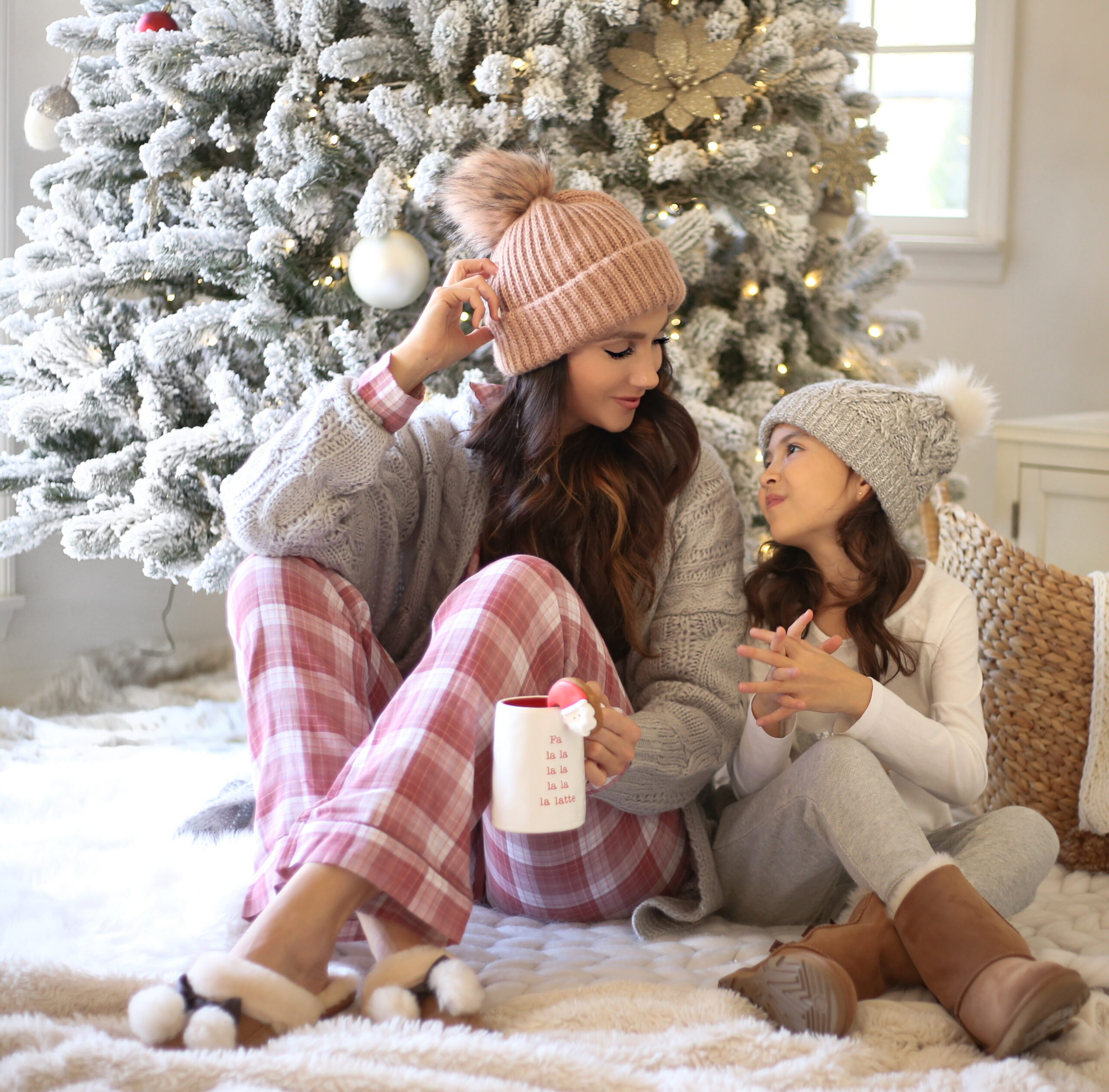 holiday picture ideas, plaid pjs, flocked christmas tree, ugg boots
