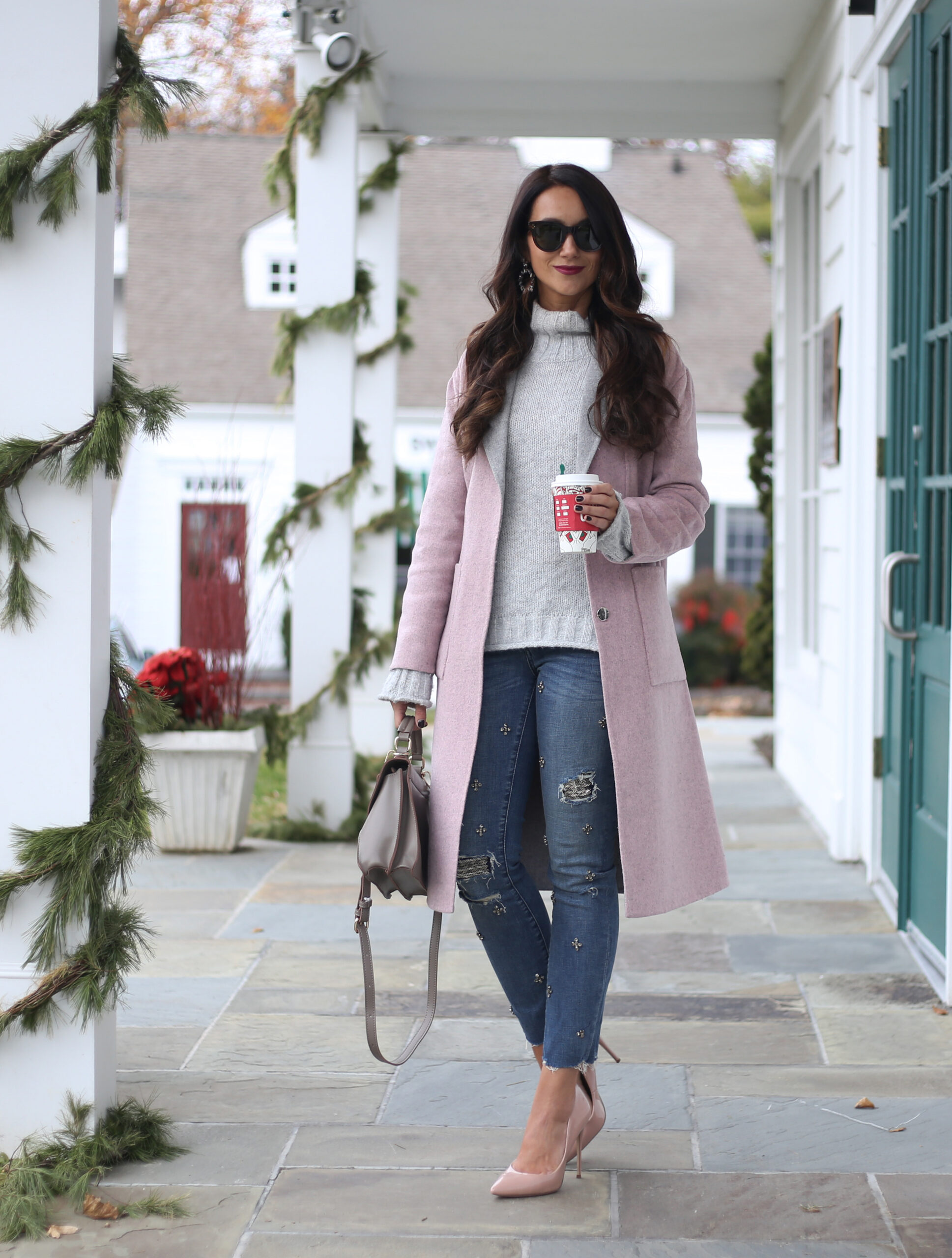 anna monteiro style blogger of blushing rose style blog wearing pink and grey