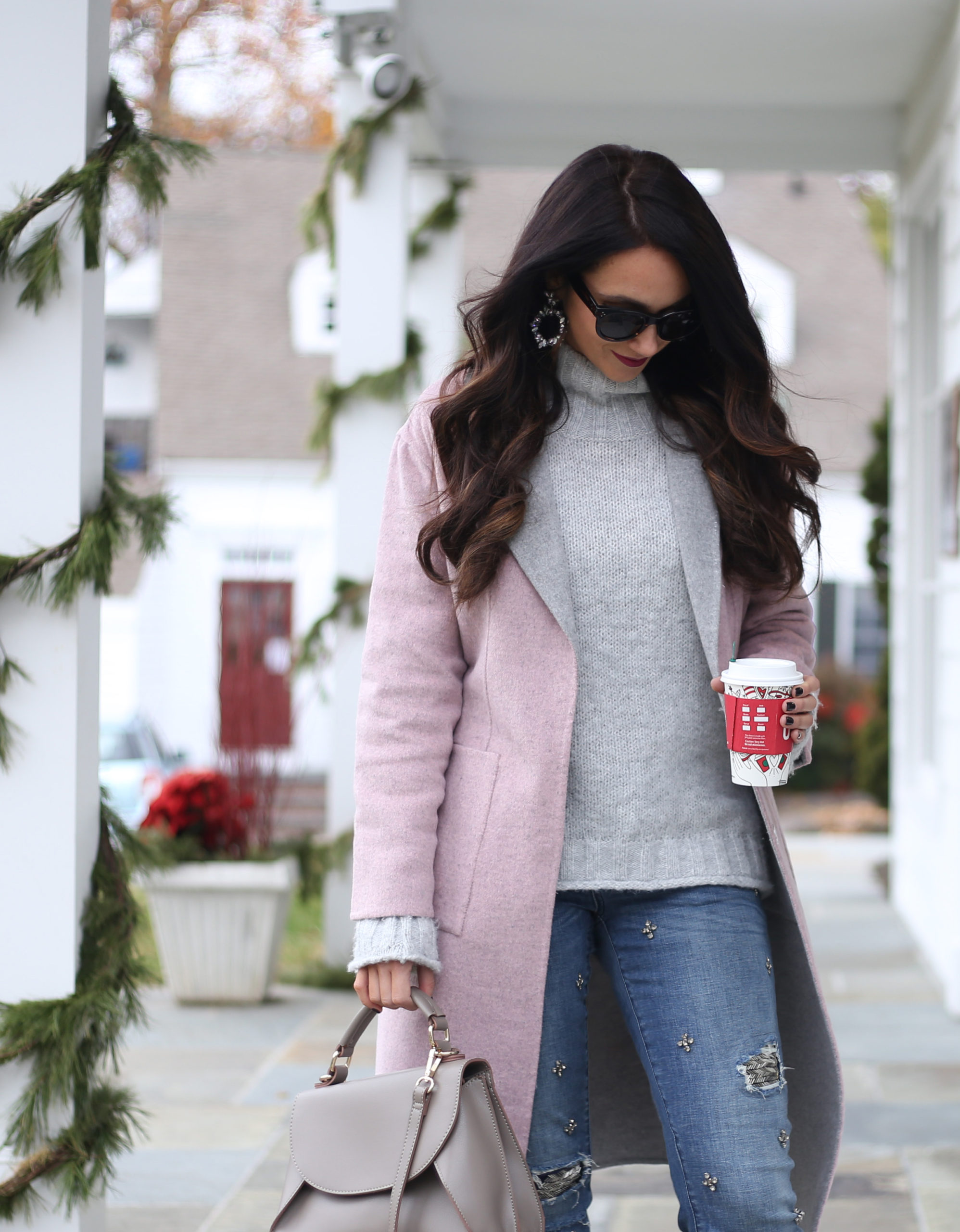 pink and grey color combo, pink and grey coat