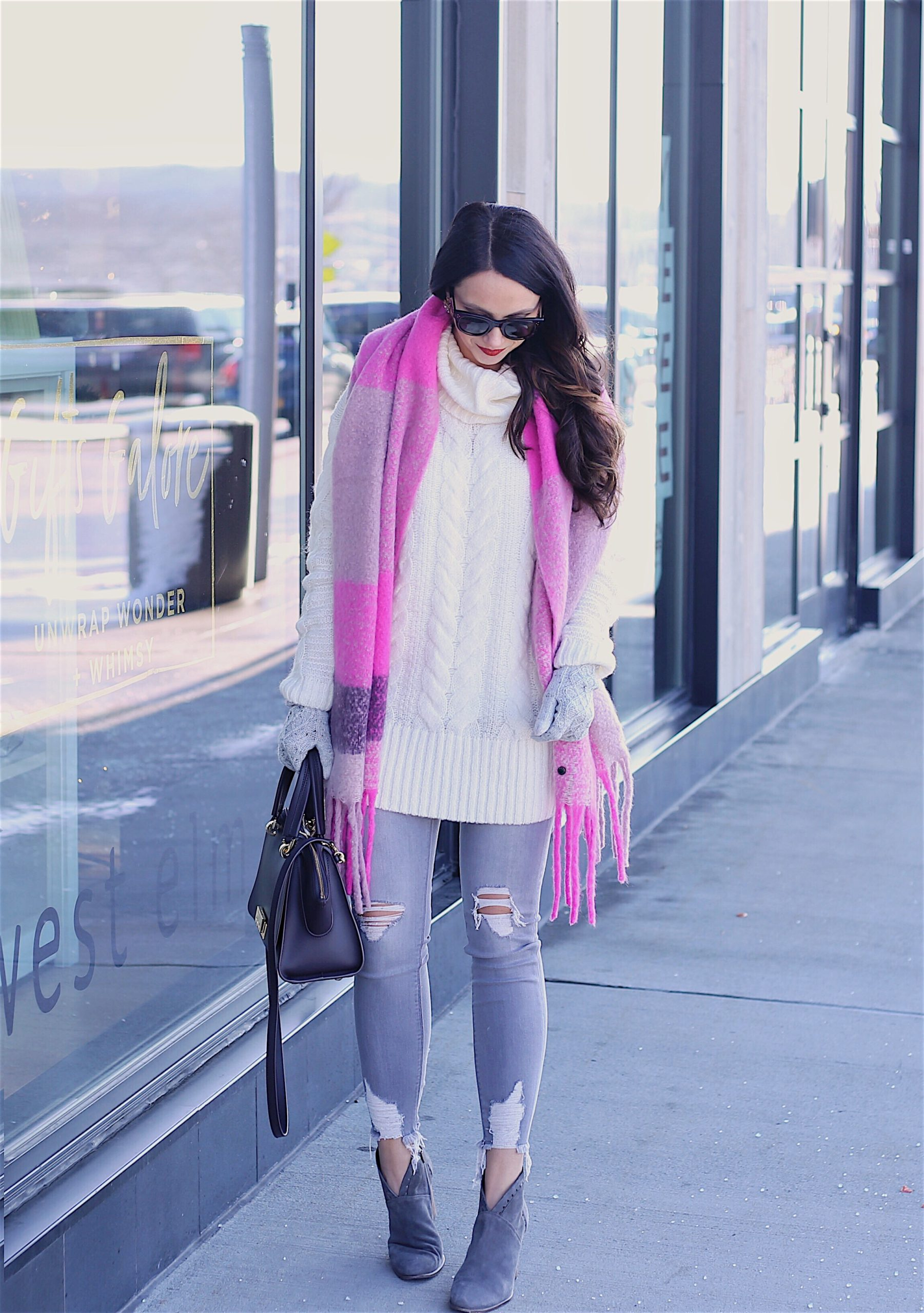 cozy layers, pink blanket scarf, grey jeans, booties, winter outfit