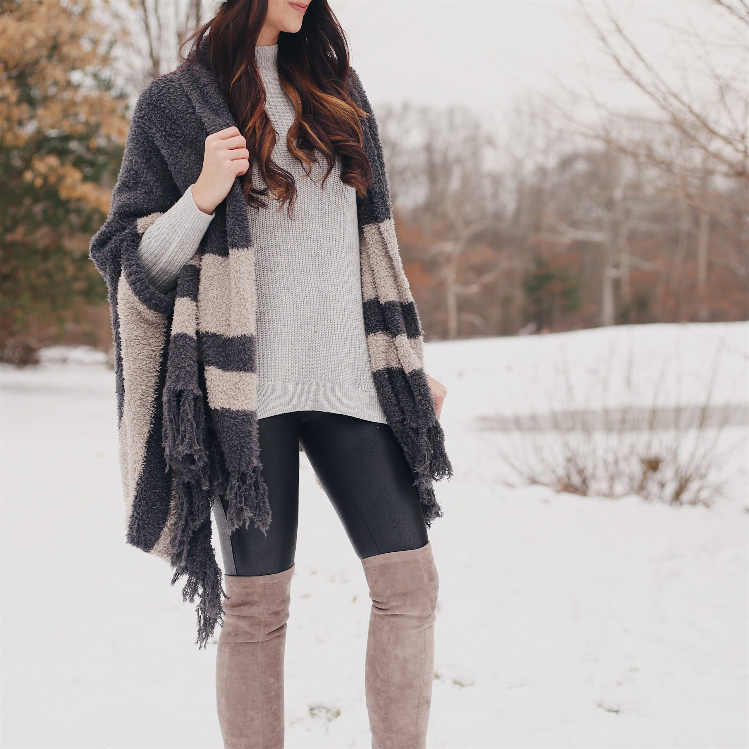 cozy wrap, cute winter outfit