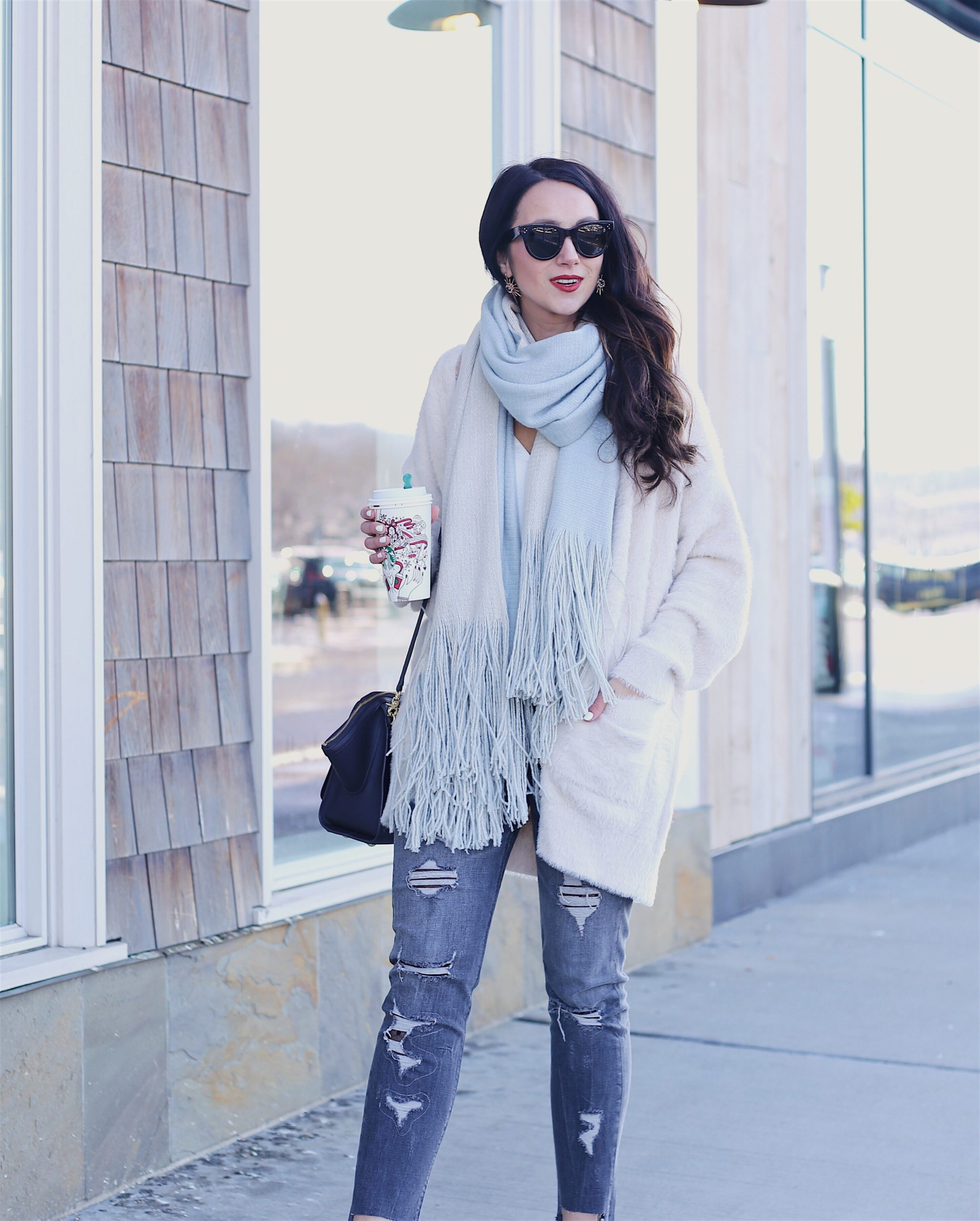 cozy layers winter outfit, blanket scarf