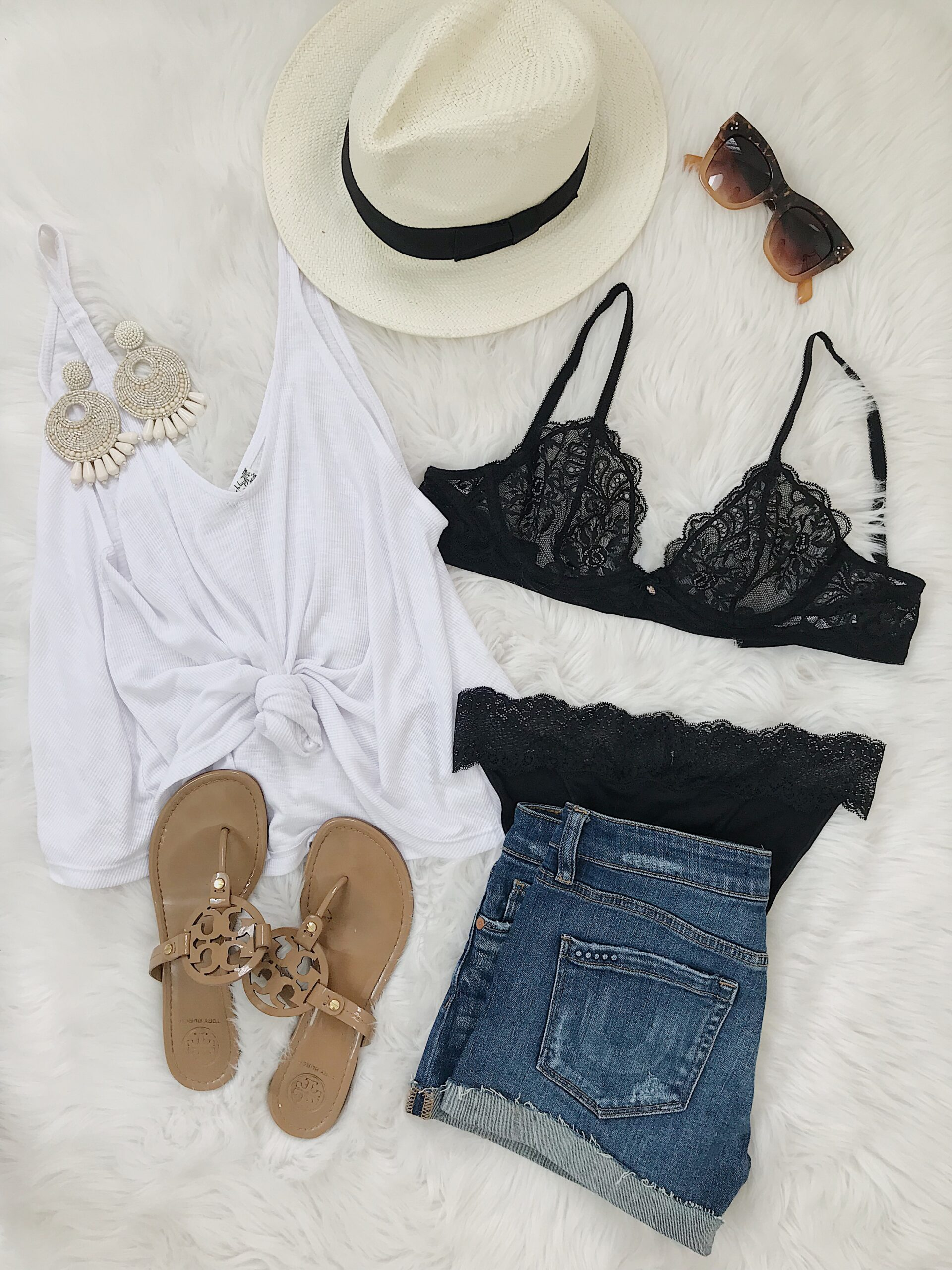 how to wear peek-a-boo lace bralette, summer outfit inspiration