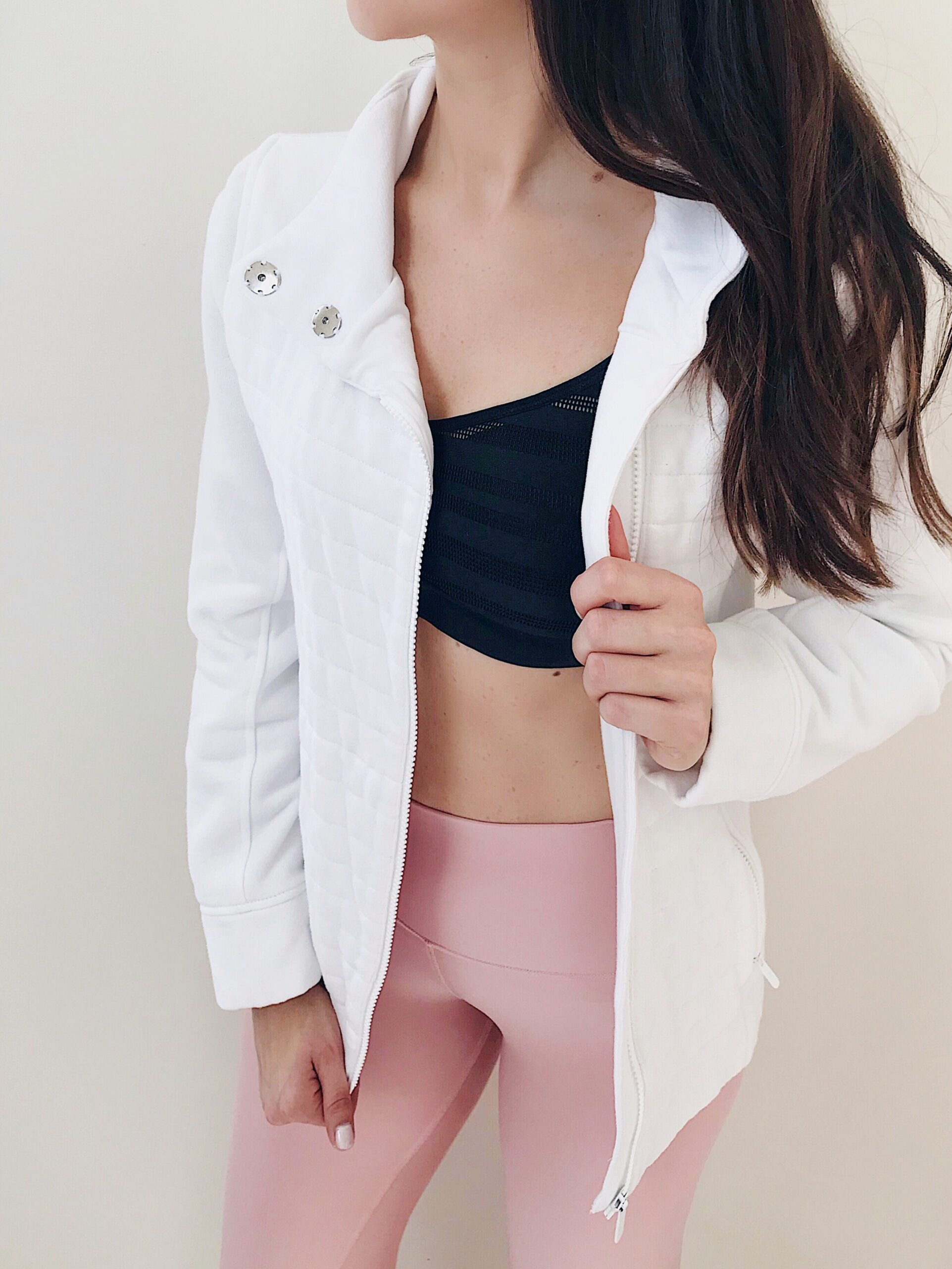 pink leggings, sports bra, cute workout outfit