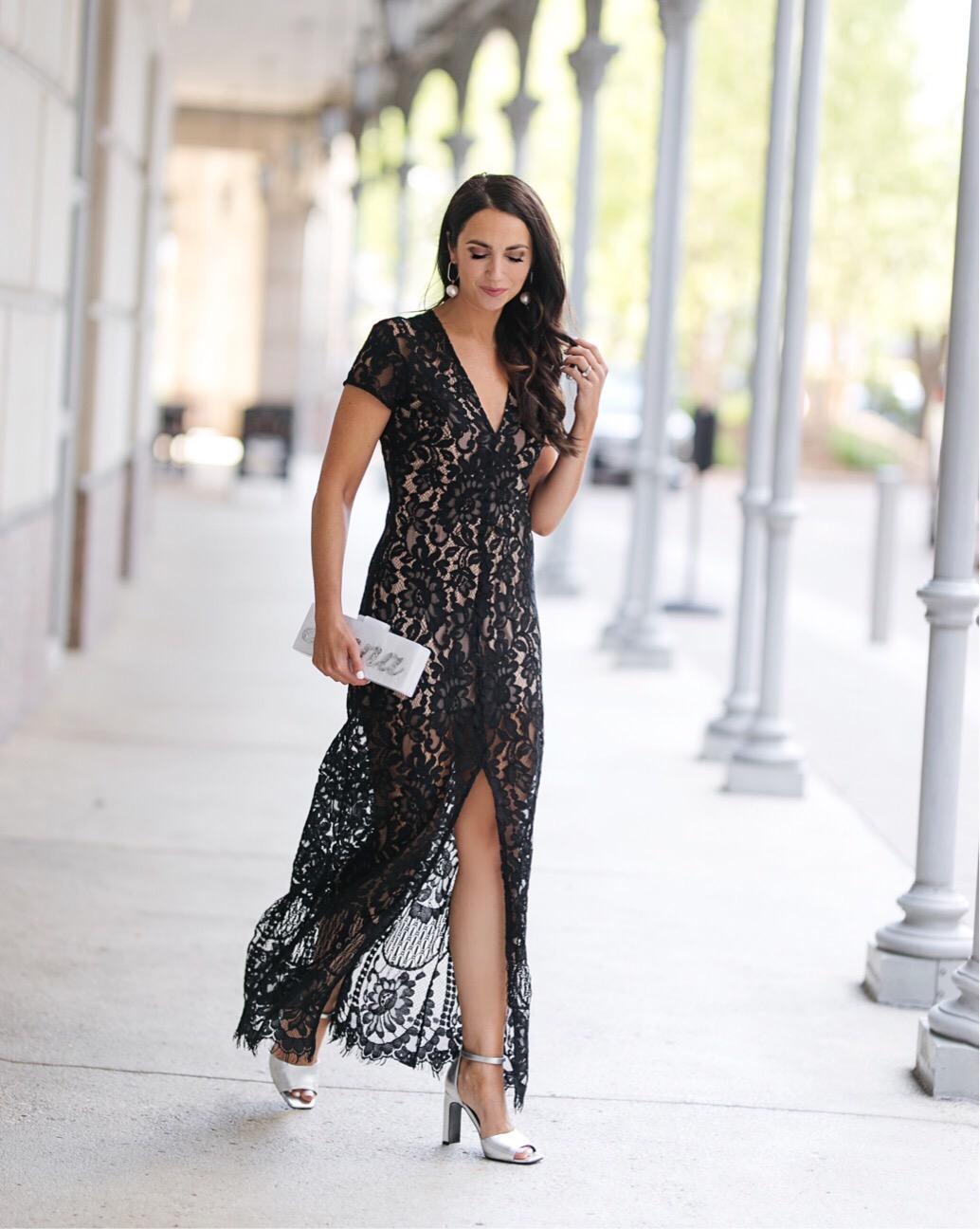 long lace black dress, wedding guest dress