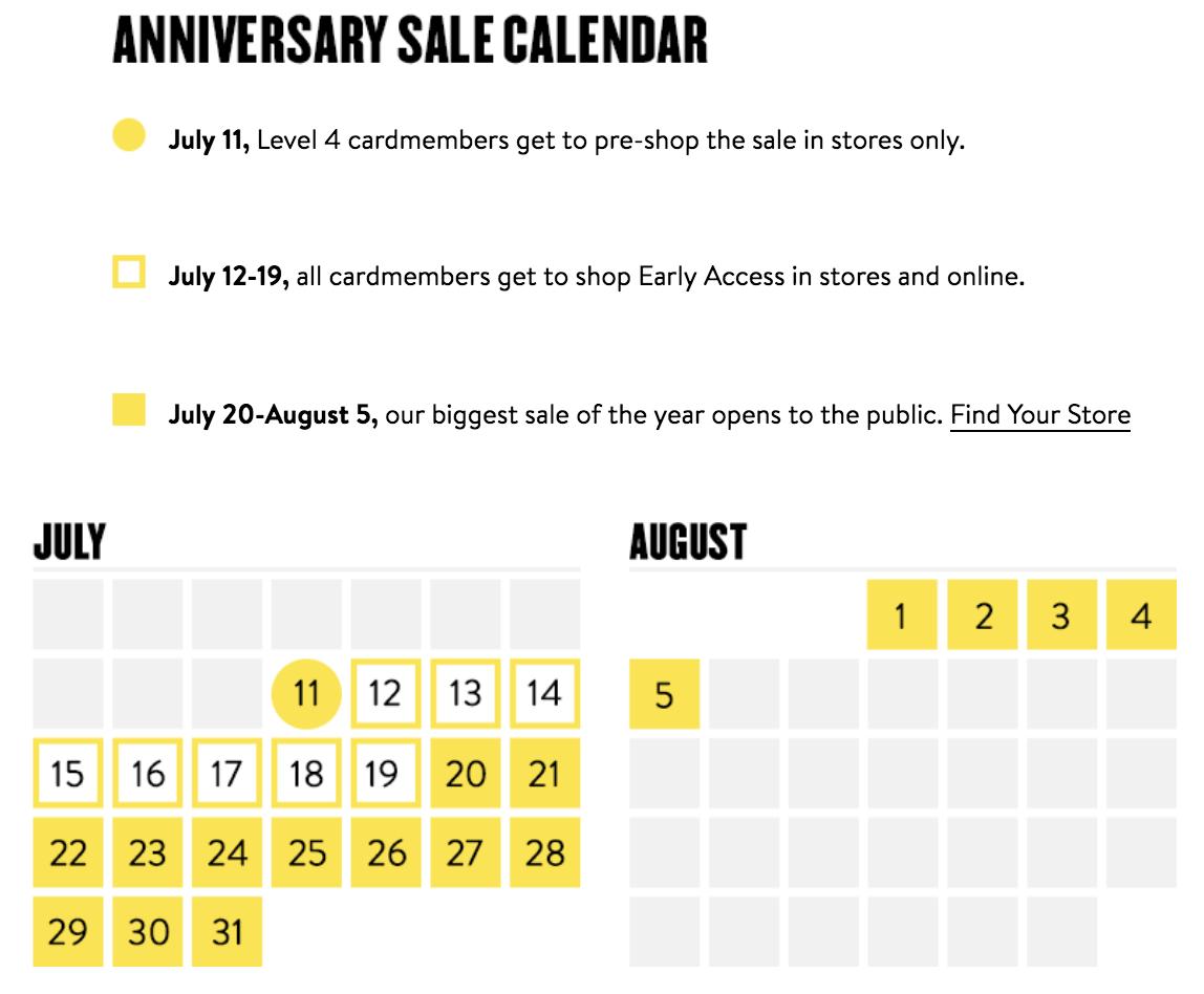 Nordstrom Anniversary Sale calendar